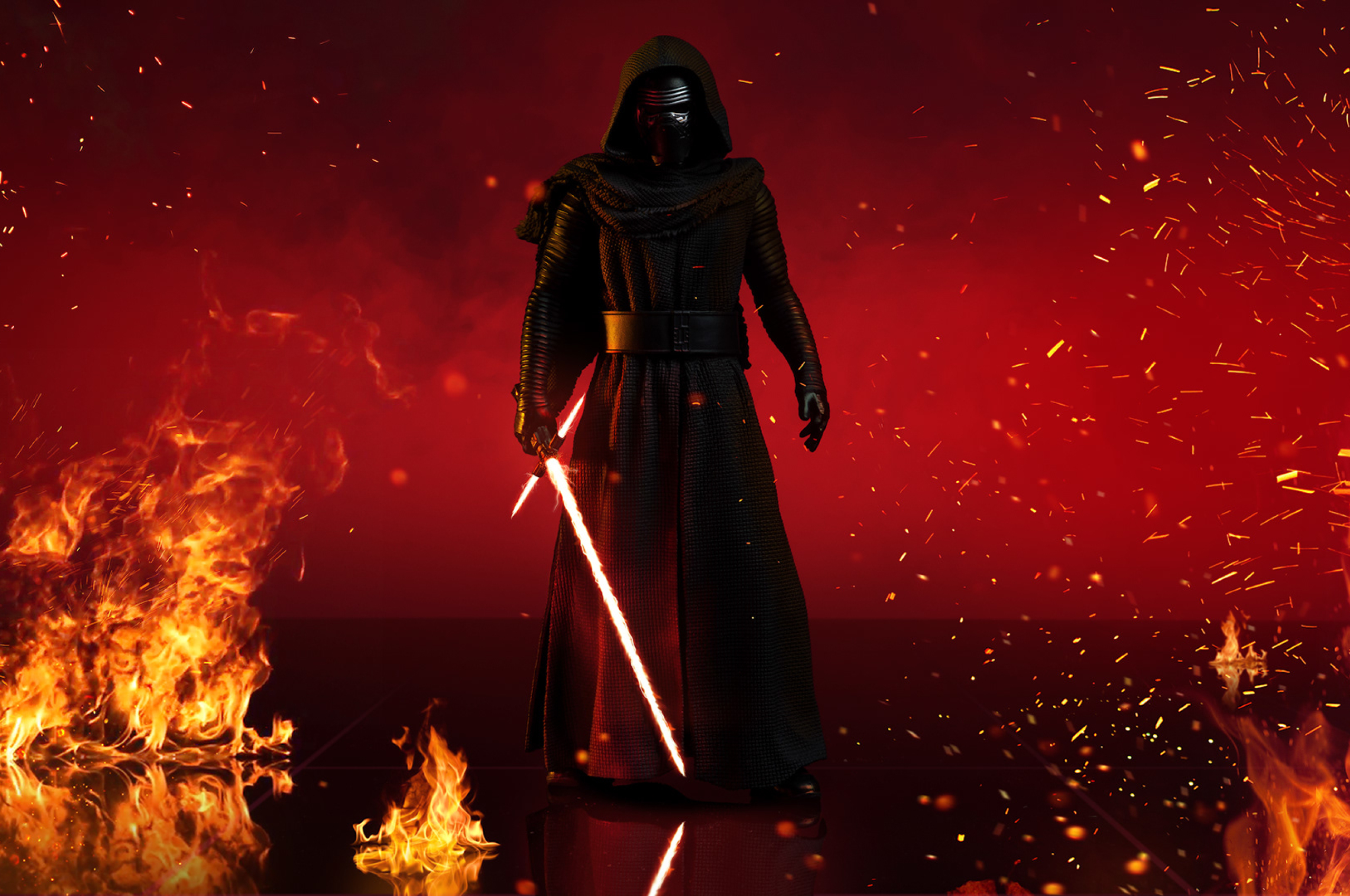 kylo ren with lightsaber in star