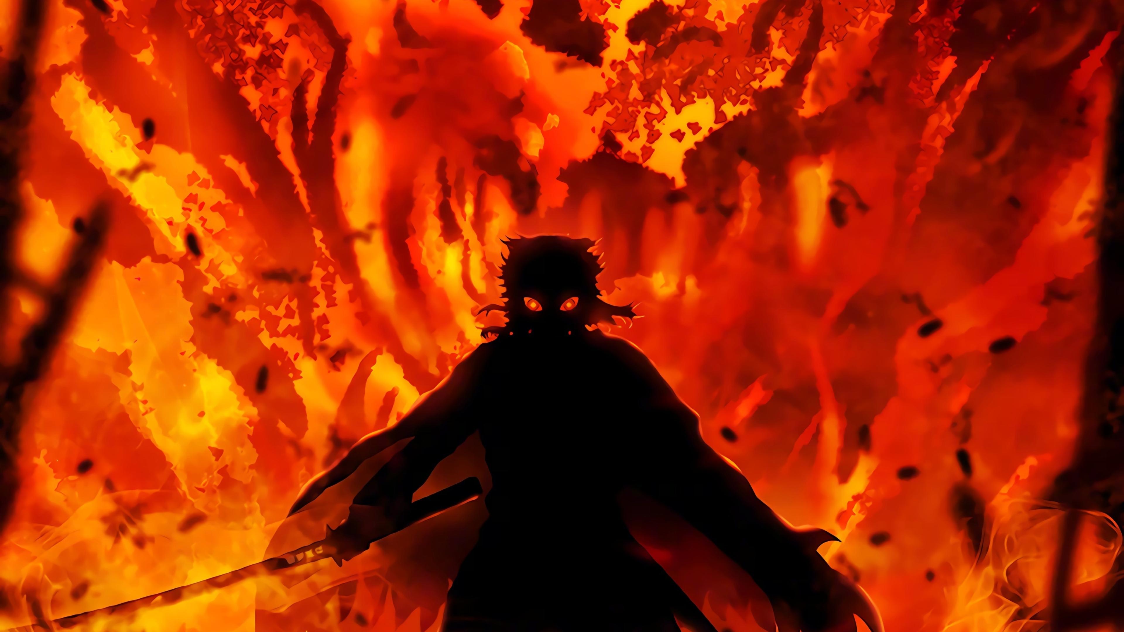 3840x2160 Kyojuro Rengoku Demon Slayer 4K Wallpaper, HD ...