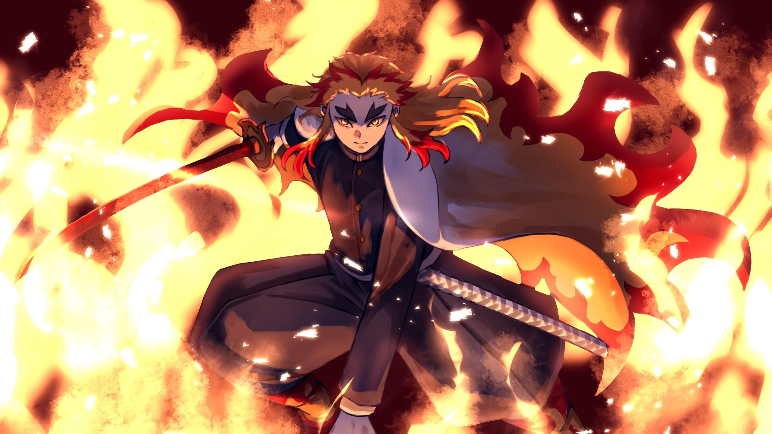 2560x1440 Kyojuro Rengoku From Demon Slayer 1440P ...