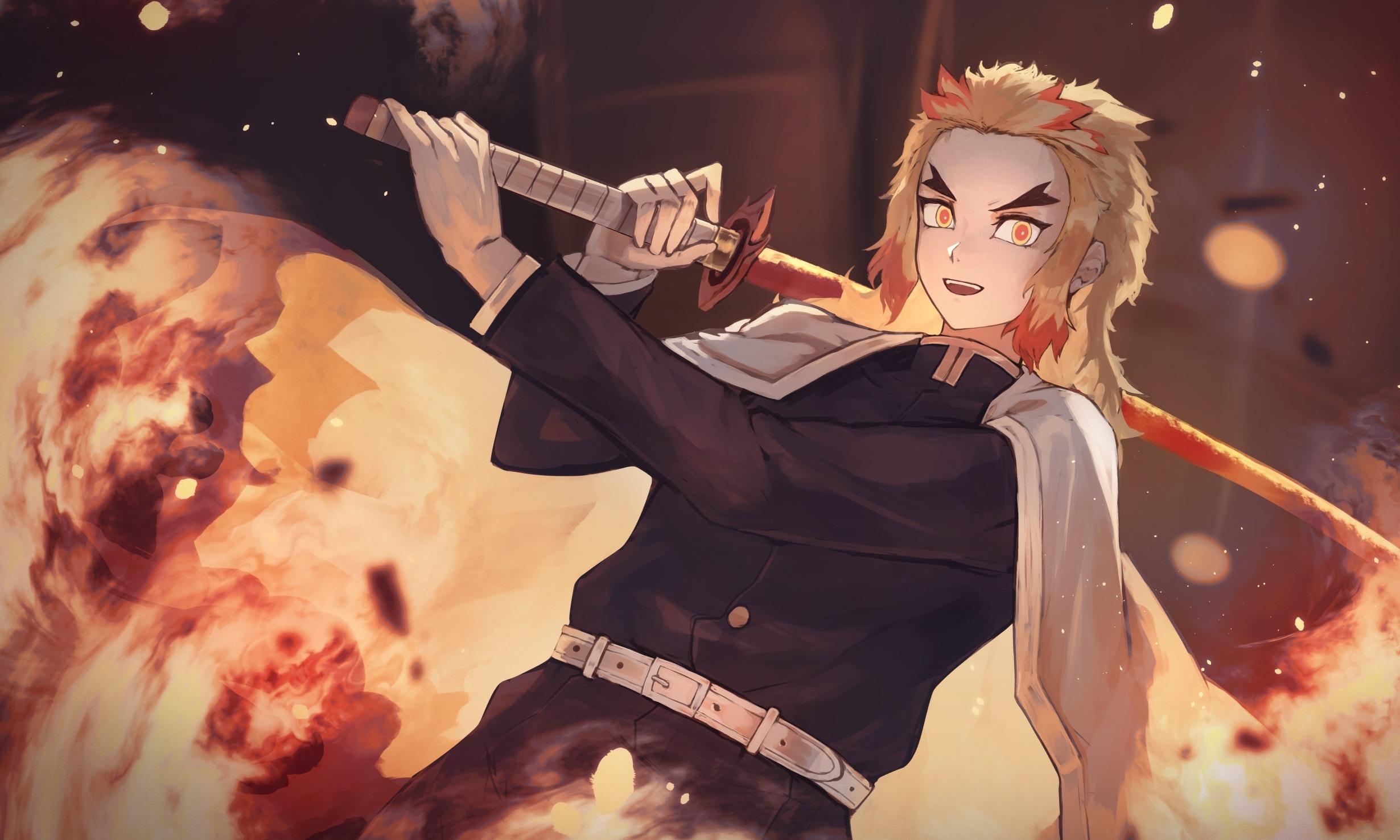 Kyojuro Rengoku Kimetsu no Yaiba Wallpaper, HD Anime 4K ...