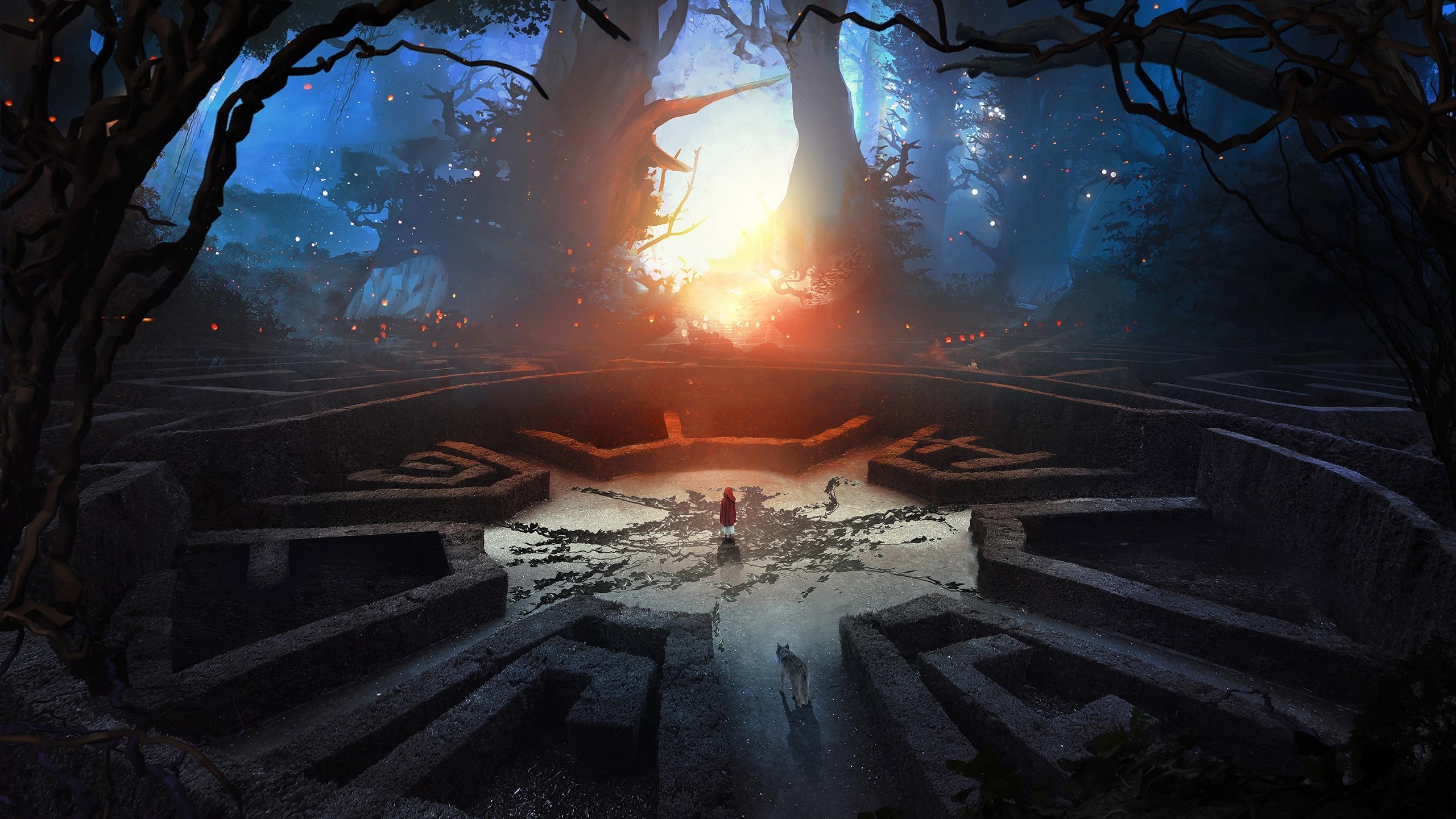 Labyrinth wolf and boy 3d abstract fantasy art full hd 2k - Fantasy wallpaper digital art ...