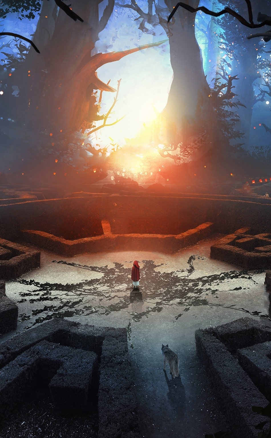 Download labyrinth wolf and boy 3d abstract fantasy art - Art wallpaper 2160x3840 ...