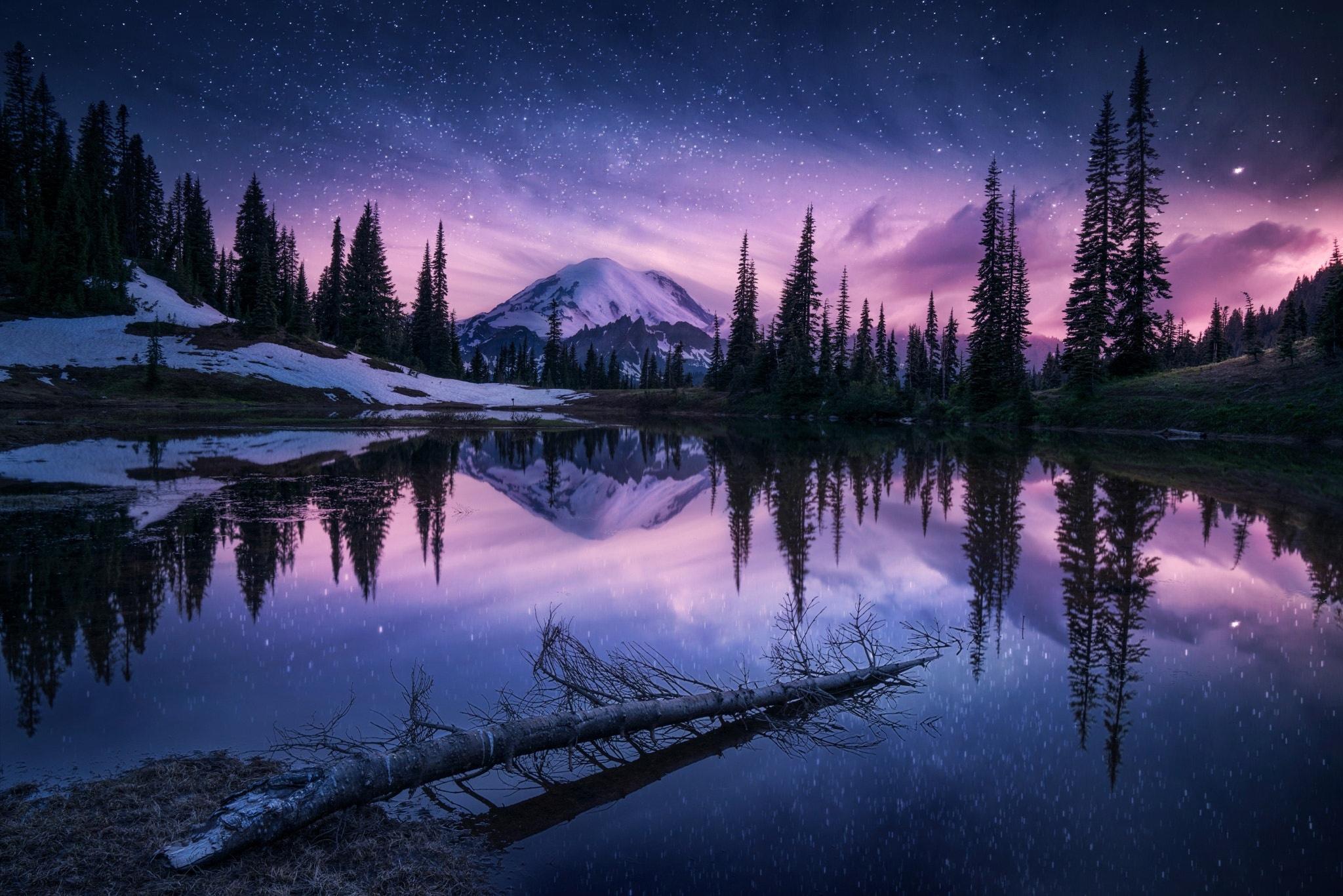 Lake Nature Night Reflection Wallpaper, HD Nature 4K ...