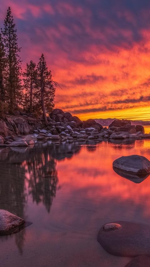 Lake Tahoe Nevada Wallpaper in 480x854 Resolution