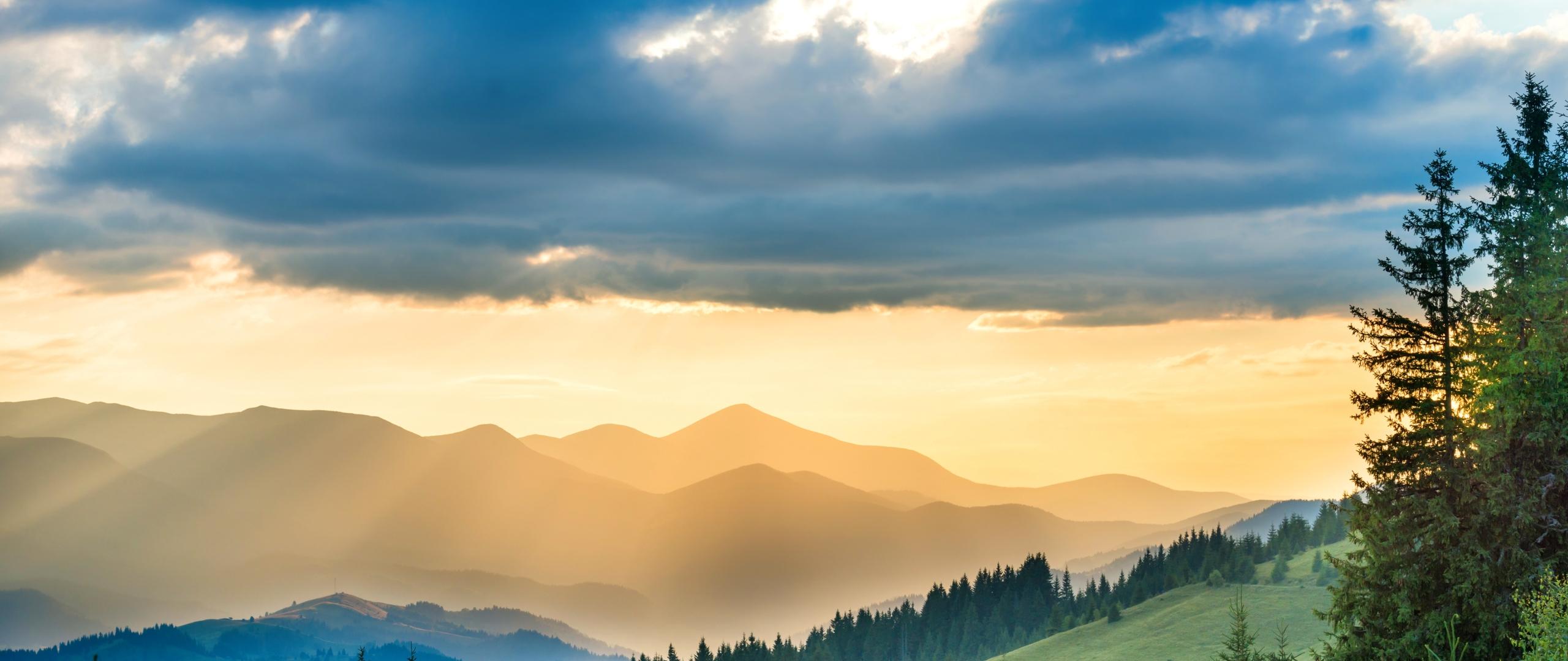 2560x1080 landscape mountains sunbeam nature 2560x1080