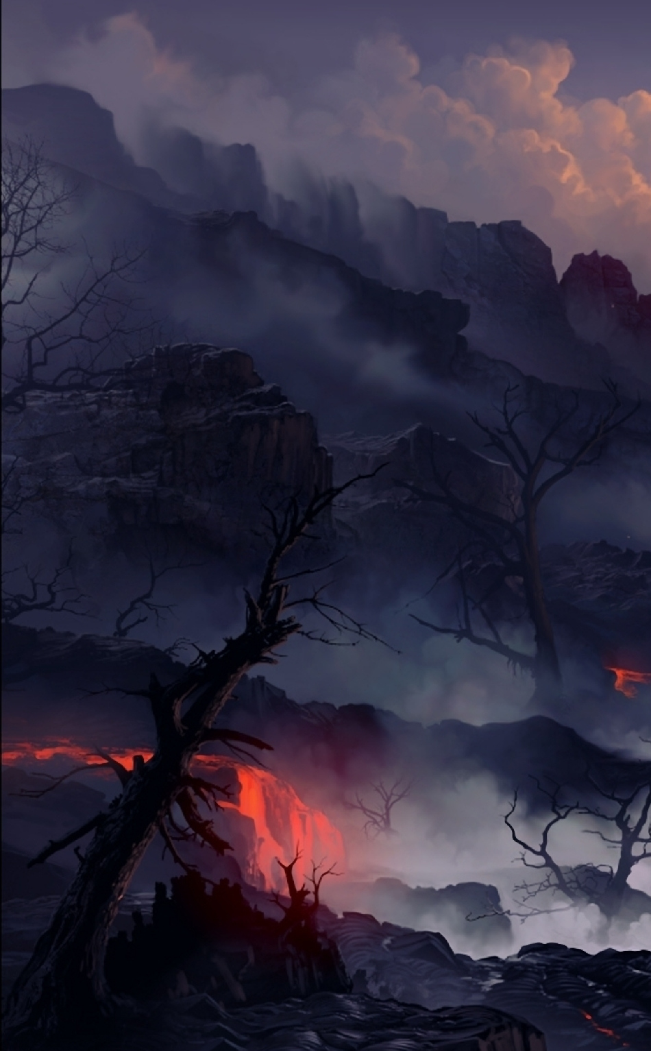 Lava With Cherry Tree Hd 4k Wallpaper