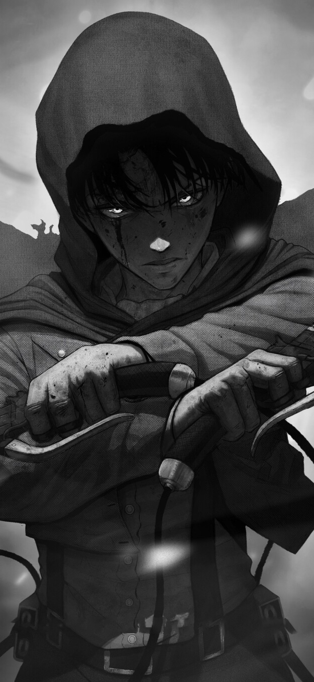1080x2340 Levi Ackerman Monochrome 1080x2340 Resolution Wallpaper Hd Anime 4k Wallpapers Images Photos And Background