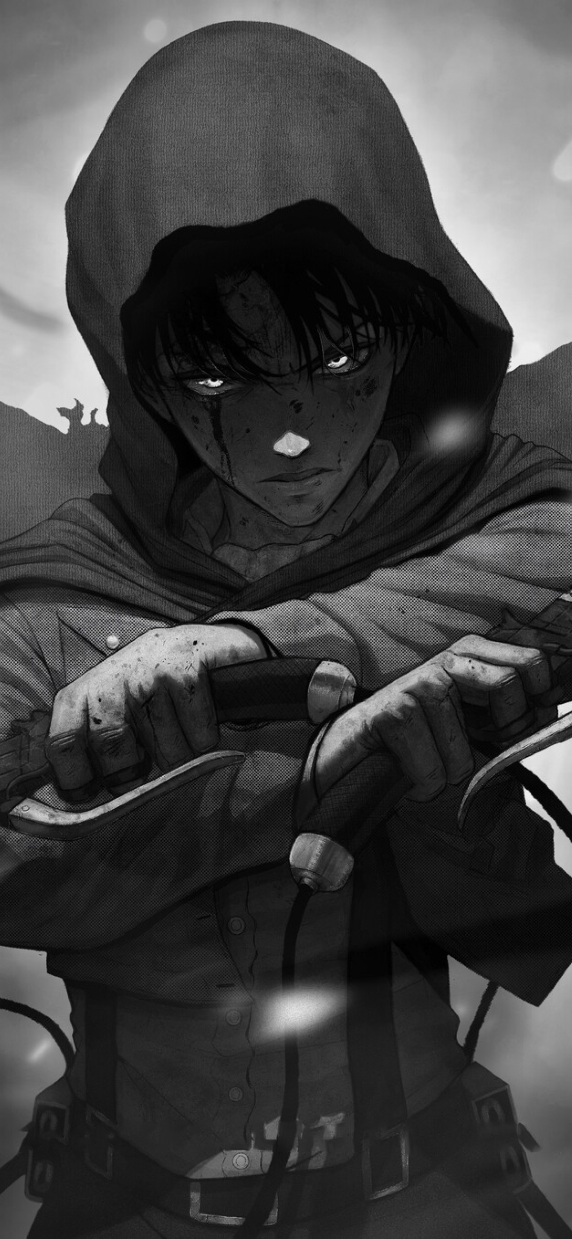 1125x2436 Levi Ackerman Monochrome Iphone Xs Iphone 10 Iphone X Wallpaper Hd Anime 4k Wallpapers Images Photos And Background