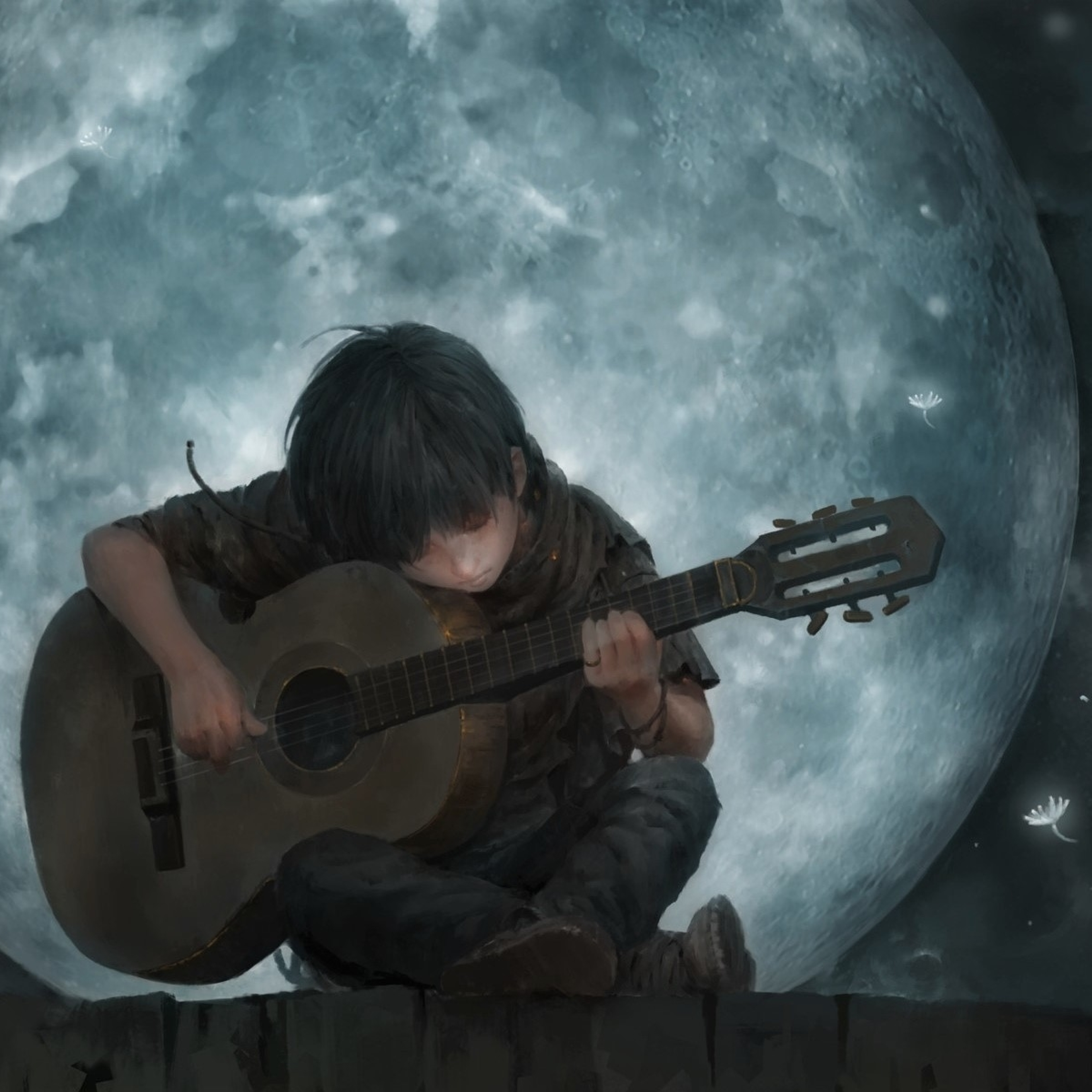 Play Guitar Iphone Wallpaper: Little Boy On Full Moon Night Playing Guitar Art, Full HD