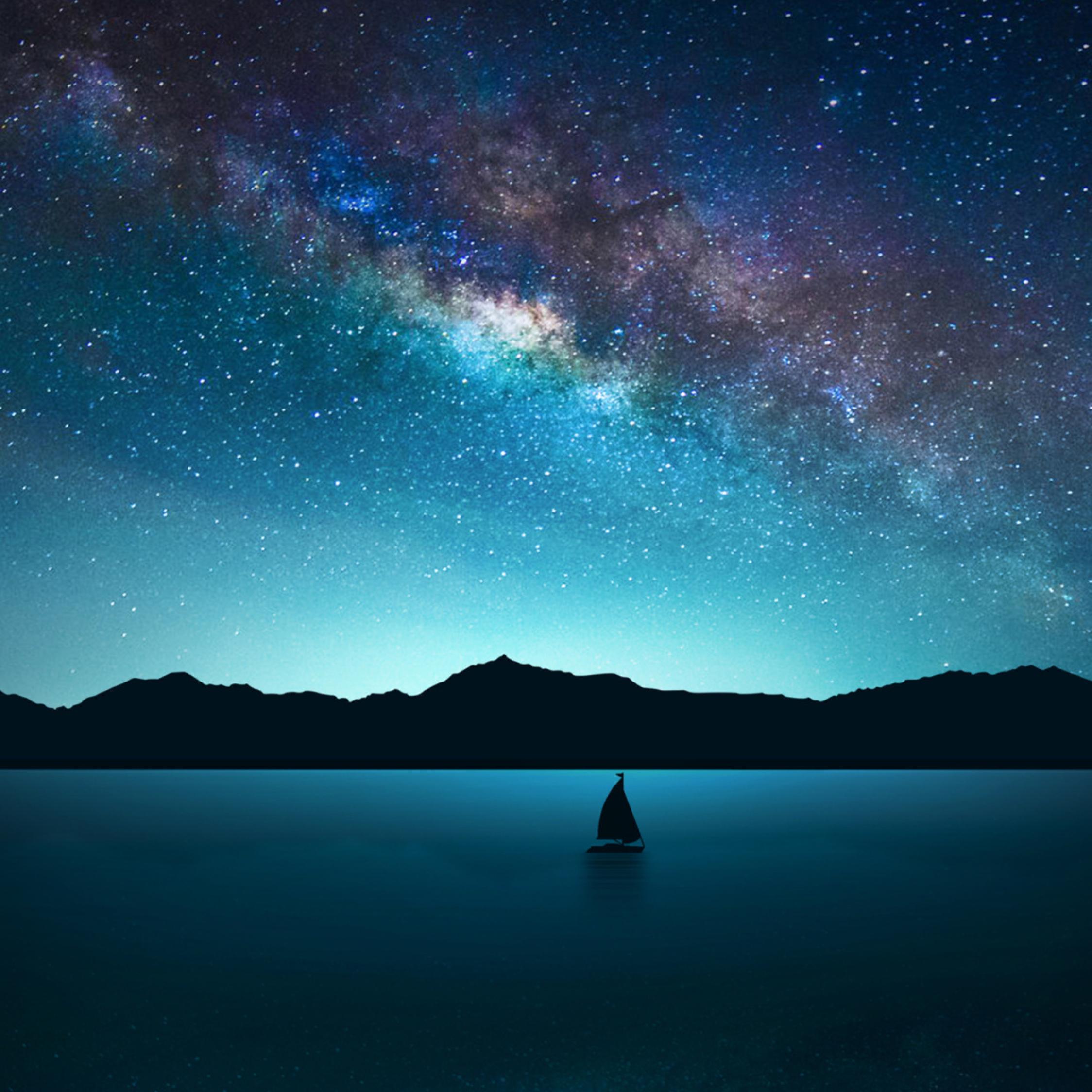 Milky Way Wallpaper: Download Lone Sailboat On Milky Way Night 1080x1920