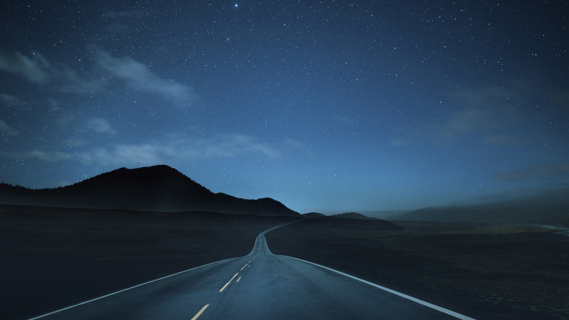 1920x1080 Lonely Road at Night 1080P