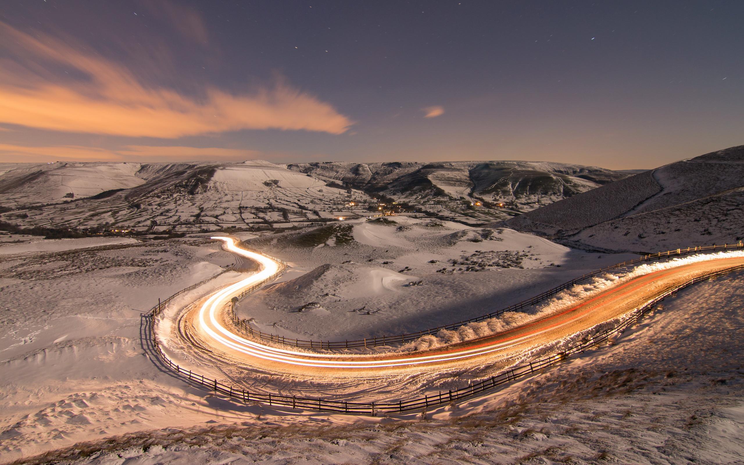 Long Exposure Snow Road, Full HD 2K Wallpaper