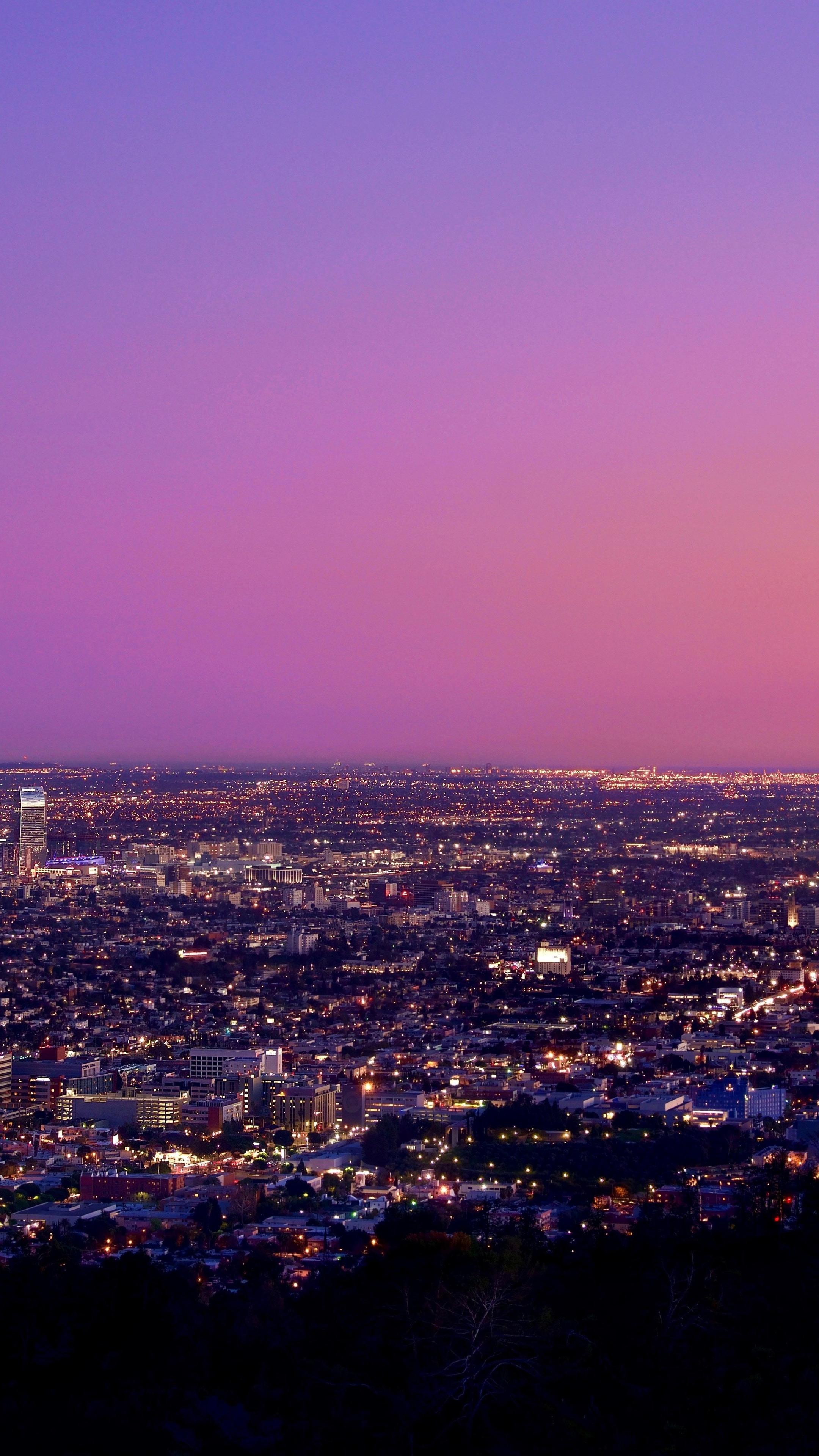 2160x3840 Los Angeles At Night Pink Sky Sony Xperia X,XZ