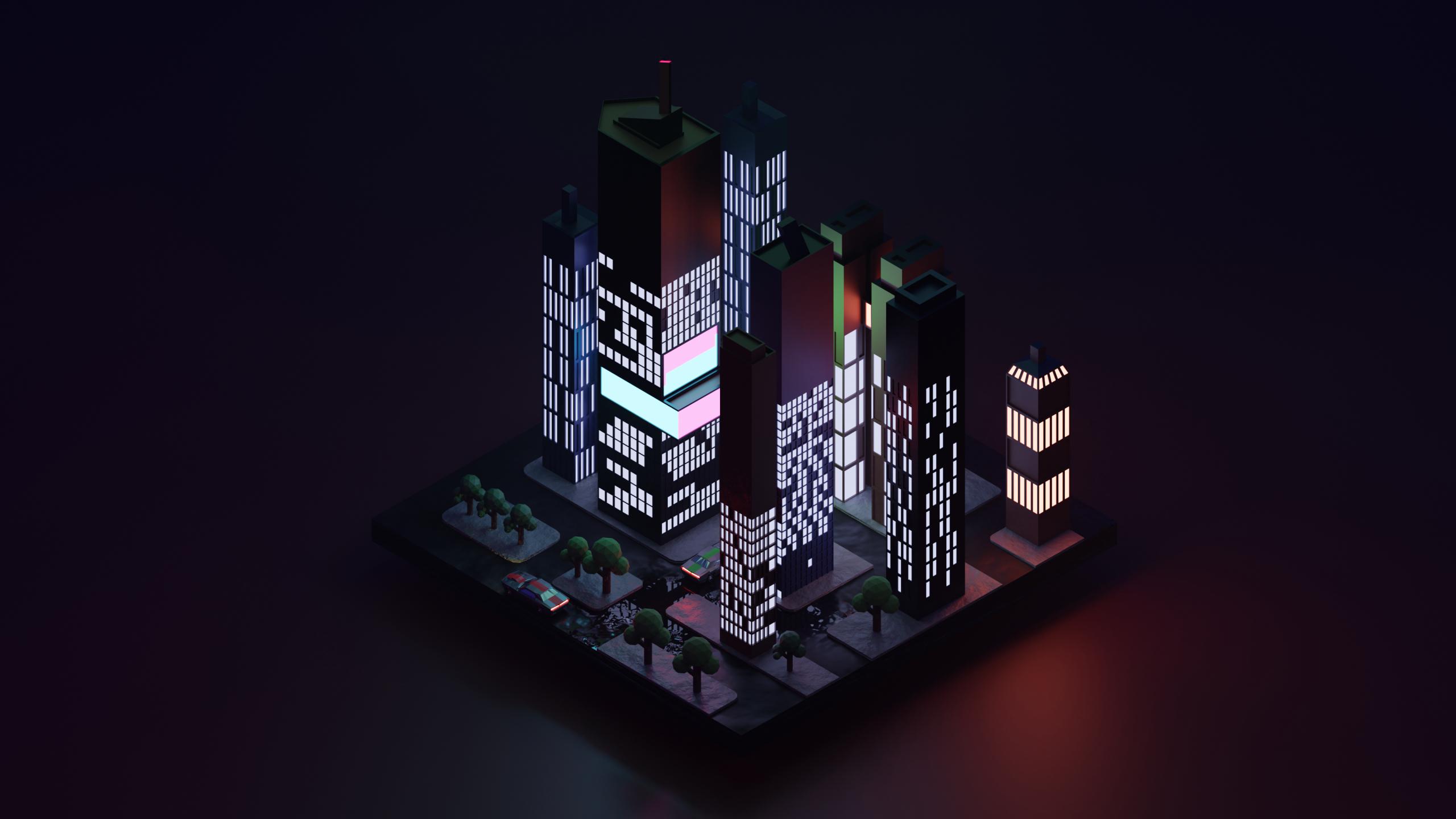2560x1440 Low Poly City Block 1440p Resolution Wallpaper Hd