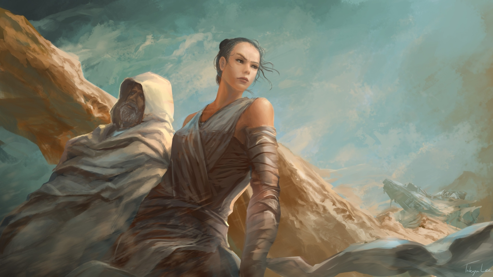 1600x900 Luke Skywalker And Rey 1600x900 Resolution Wallpaper Hd Artist 4k Wallpapers Images Photos And Background