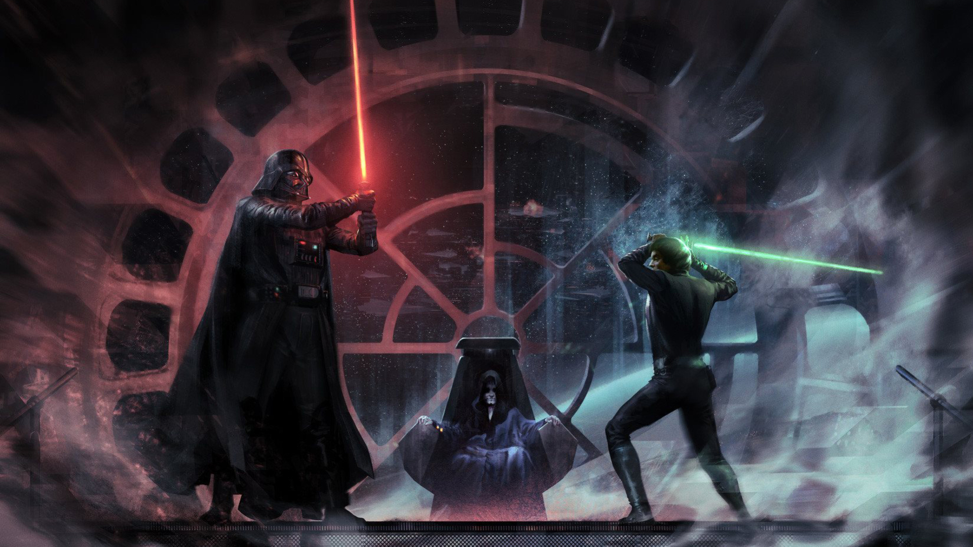 1920x1080 Luke Skywalker Vs Darth Vader Emperor Palpatin 1080p Laptop Full Hd Wallpaper Hd Movies 4k Wallpapers Images Photos And Background