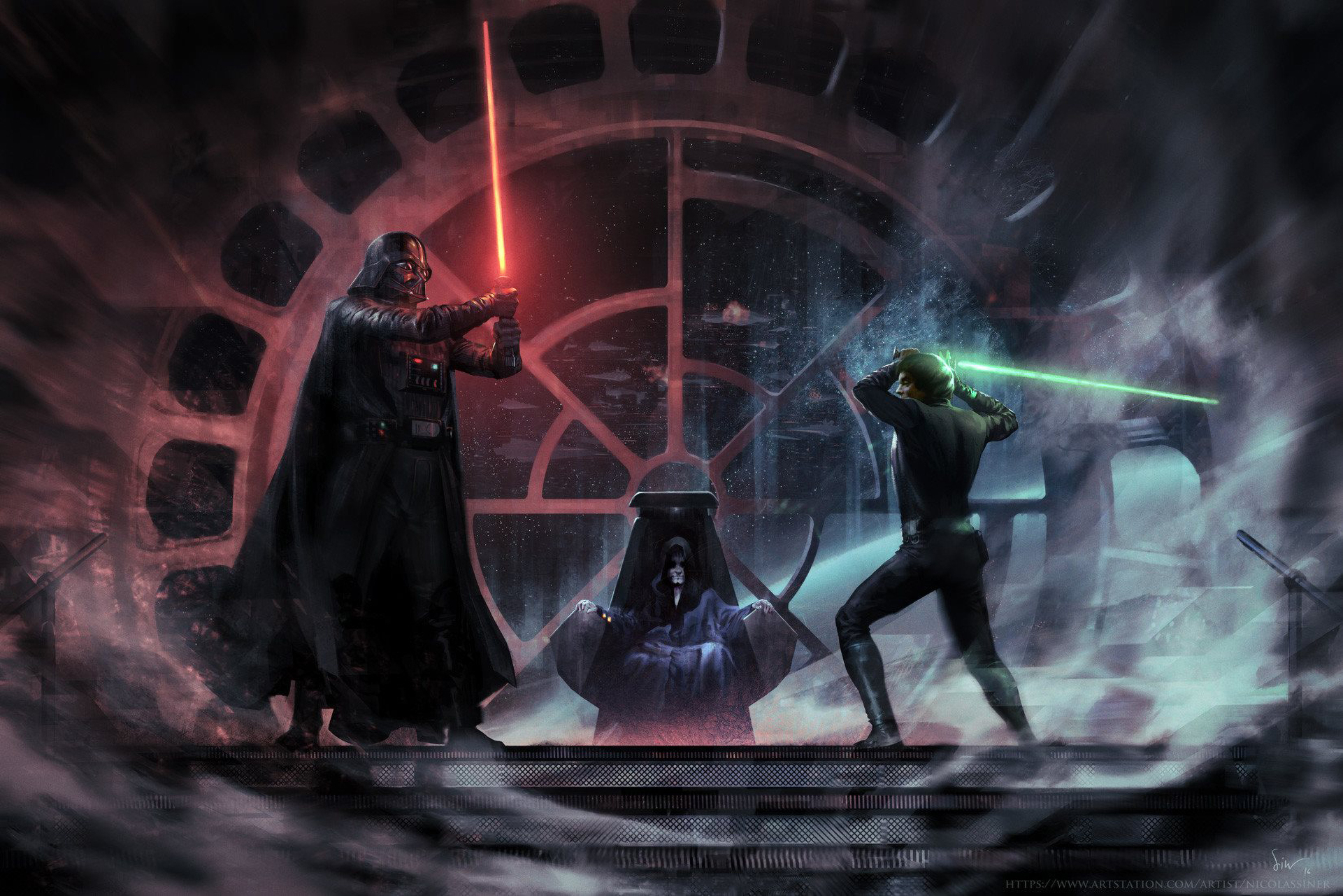 Luke Skywalker Vs Darth Vader Emperor Palpatin Wallpaper Hd Movies 4k Wallpapers Images Photos And Background