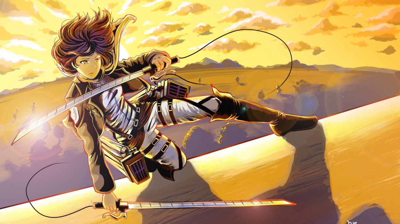 1366x768 Luna Selenium Mikasa Ackerman Shingeki No Kyojin