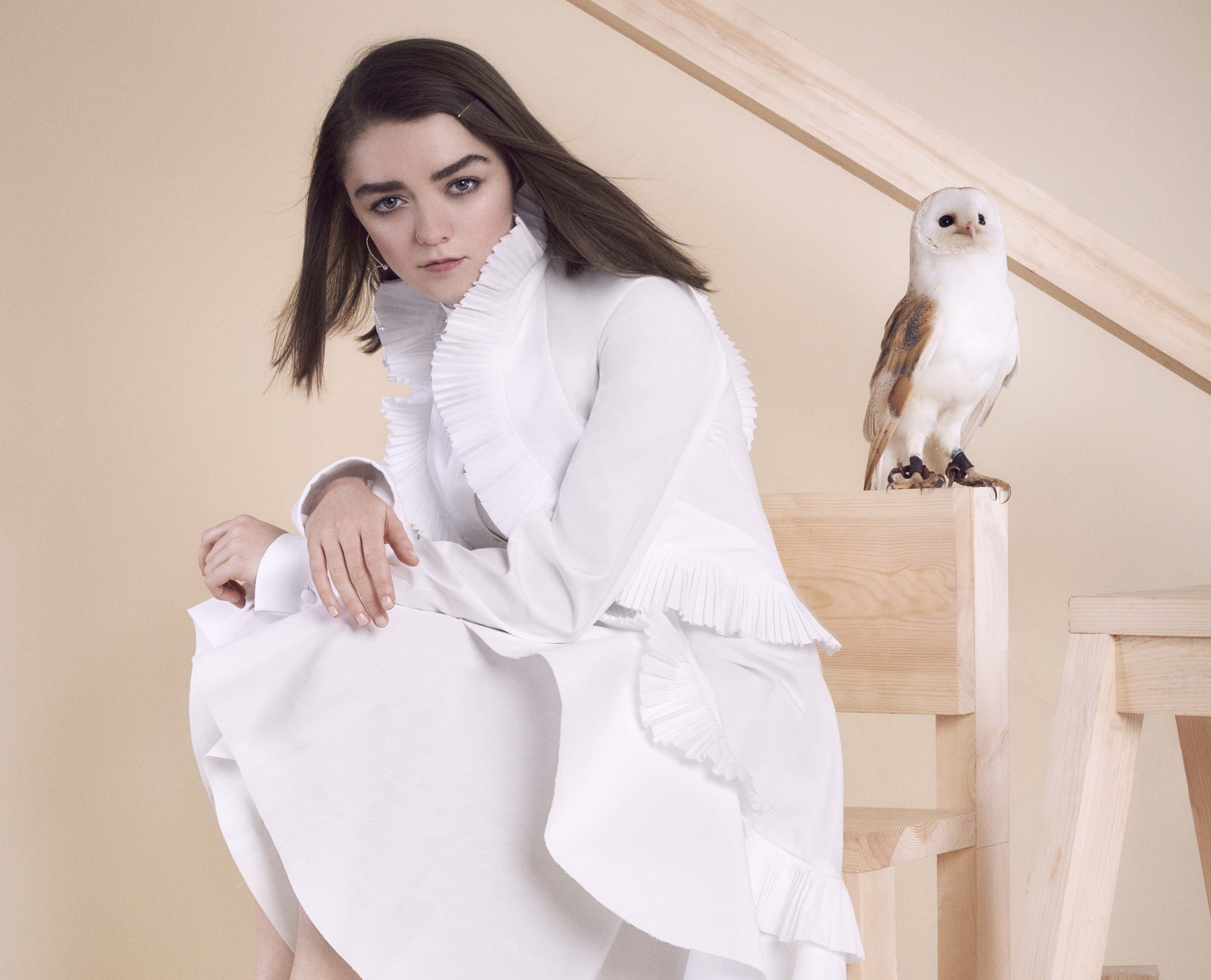 Maisie Williams With Owl Photoshoot, HD 4K Wallpaper