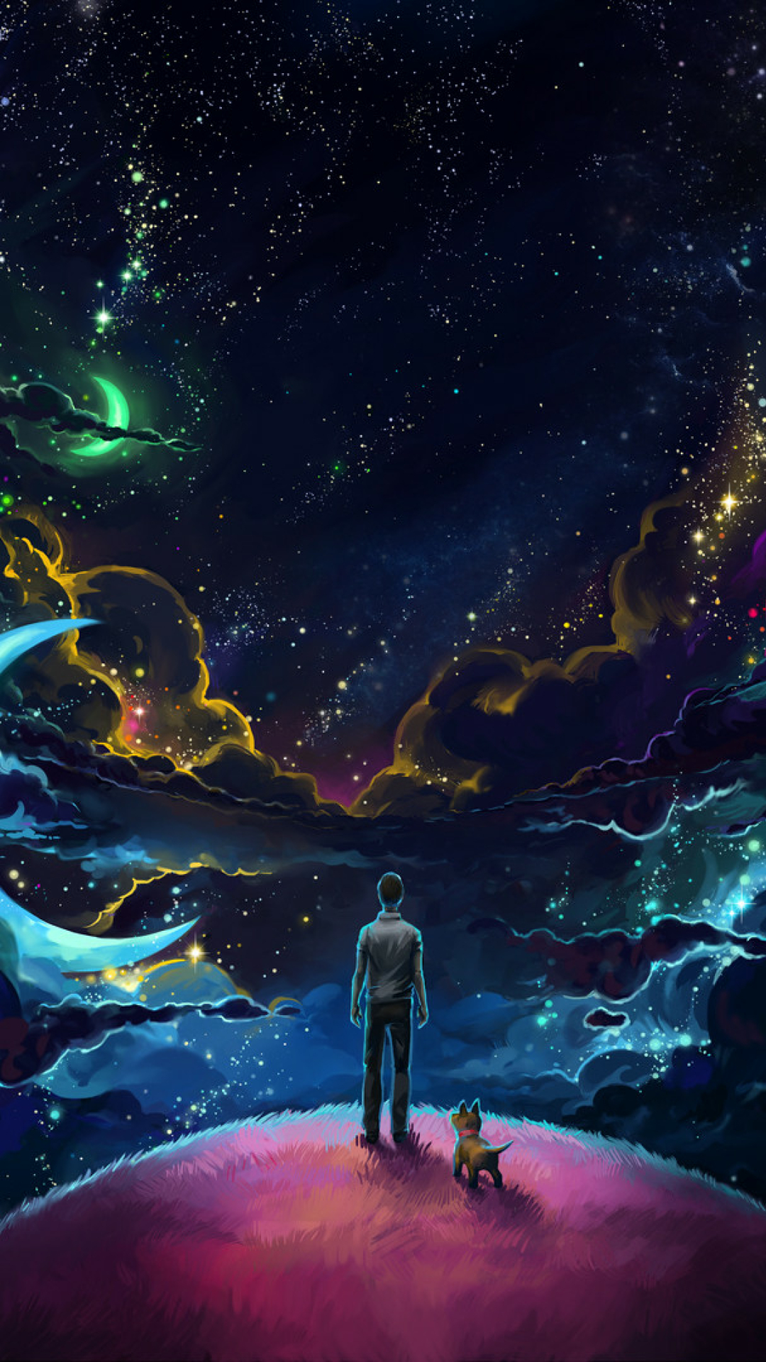 Download Man And Dog And Neon Space 7680x4320 Resolution ...