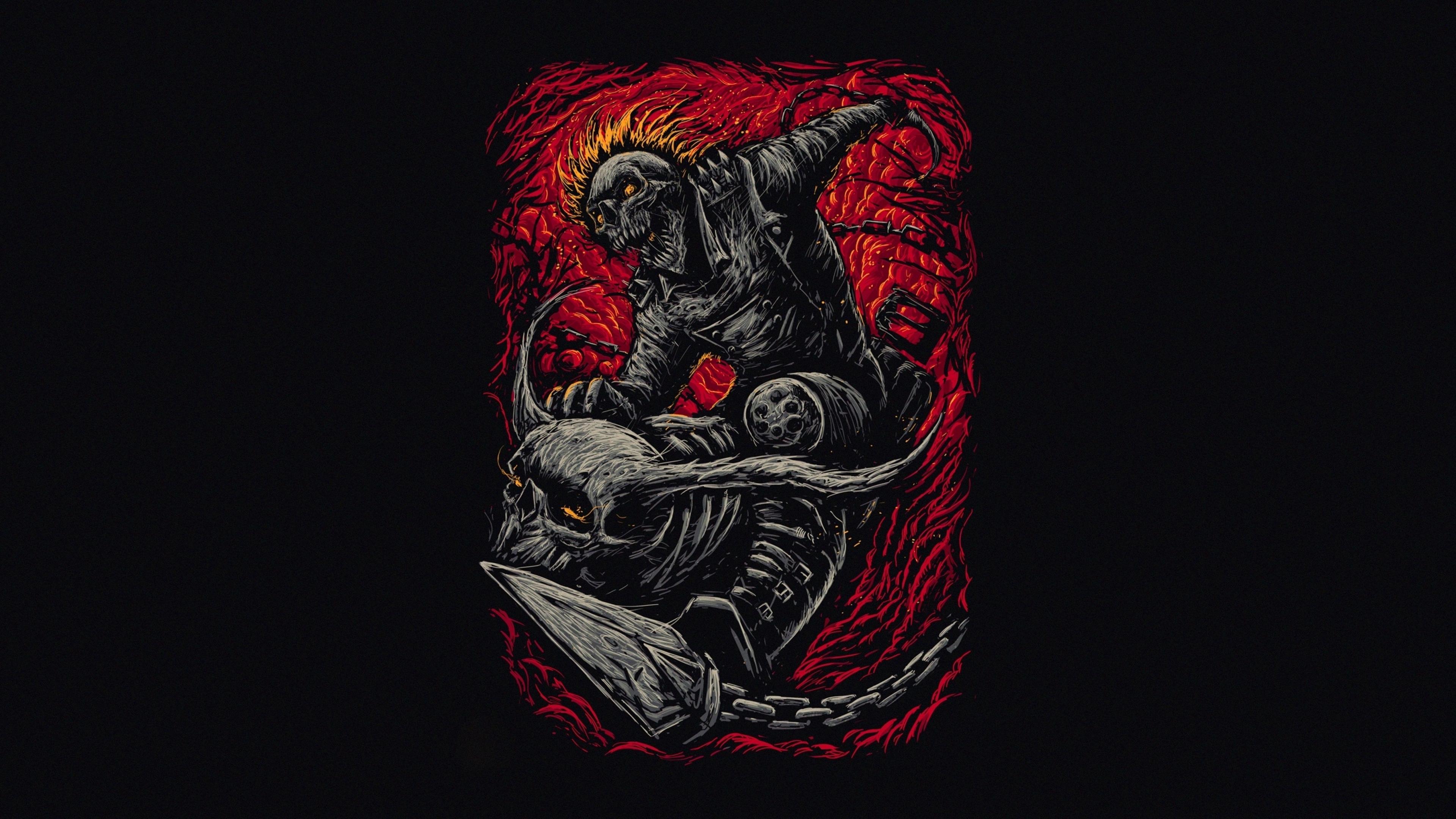 3840x2160 Marvel Ghost Rider Minimalist 4K Wallpaper, HD ...