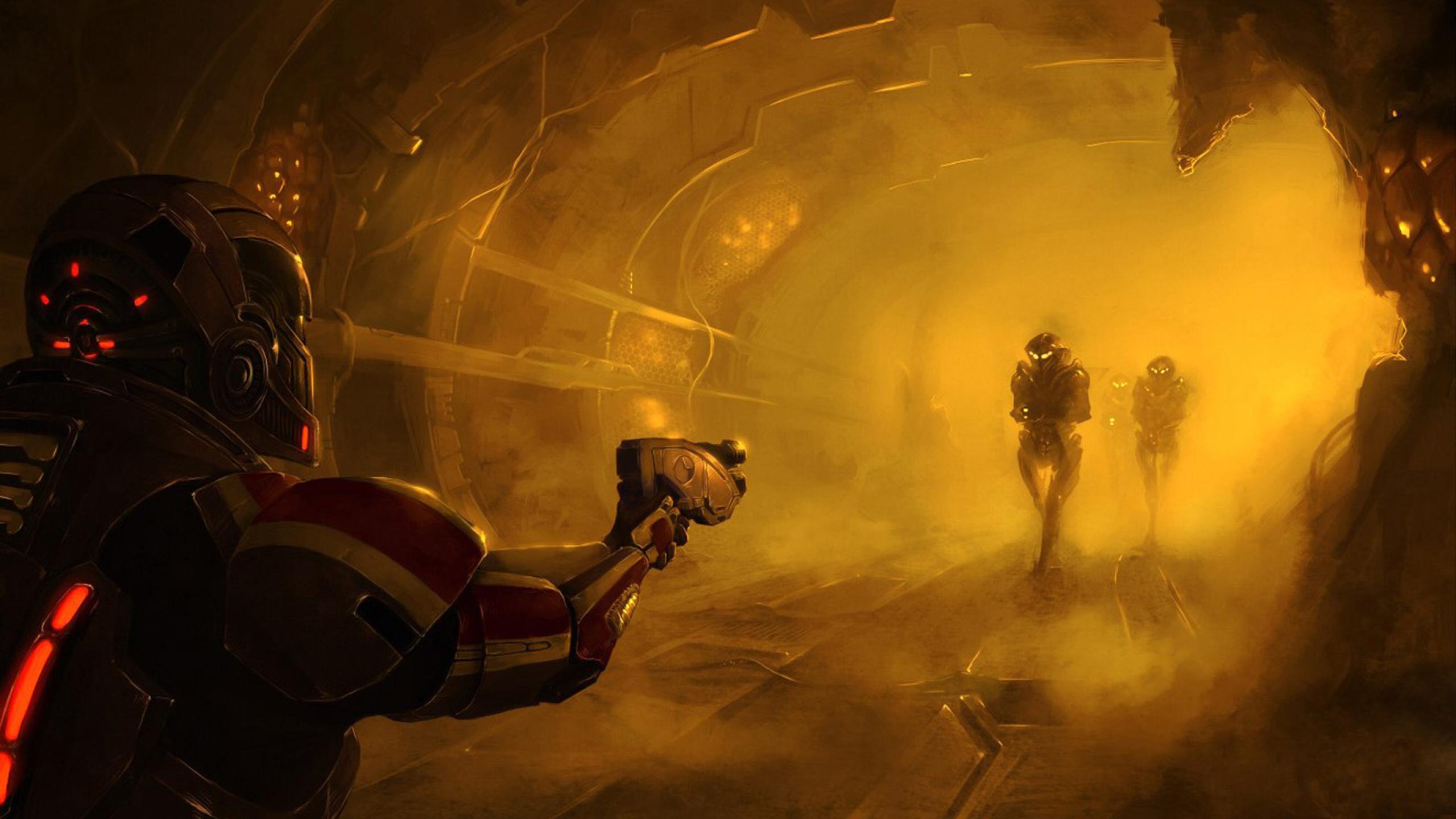 2560x1440 Mass Effect 3 Shepard Art 1440p Resolution Wallpaper