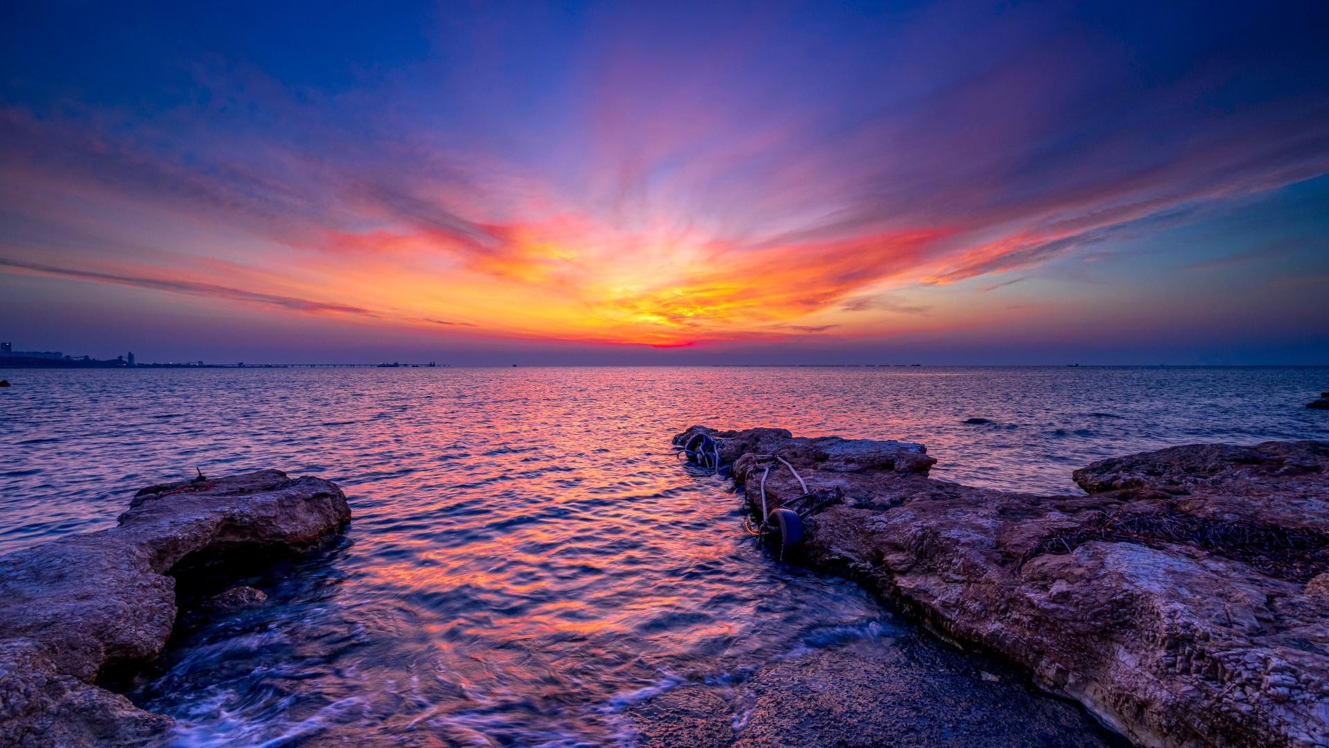 1920x1080 Mediterranean Sea Sunset 1080P Laptop Full HD ...