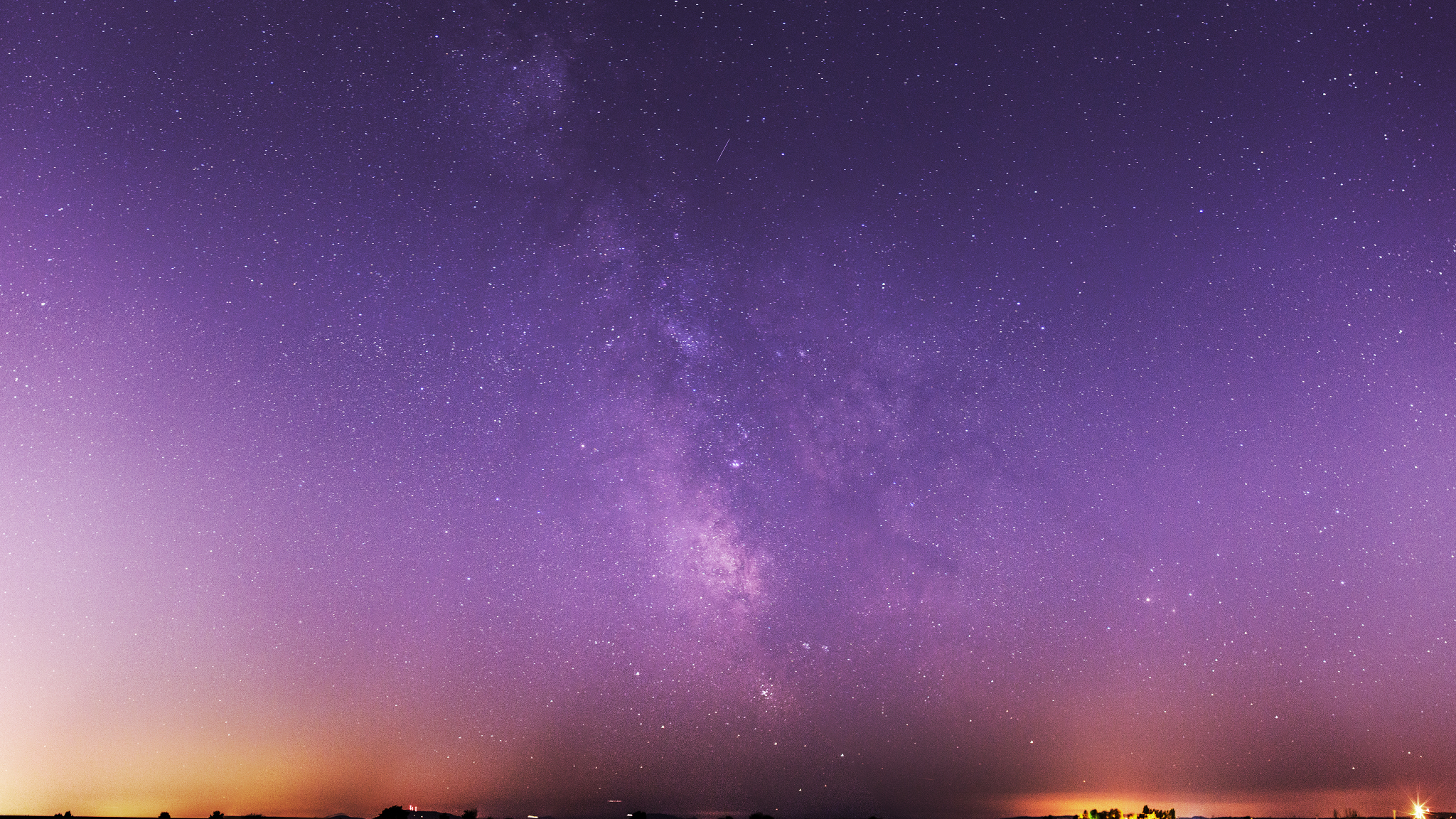 Milky Way Galaxy Purple Night Sky, HD 4K Wallpaper