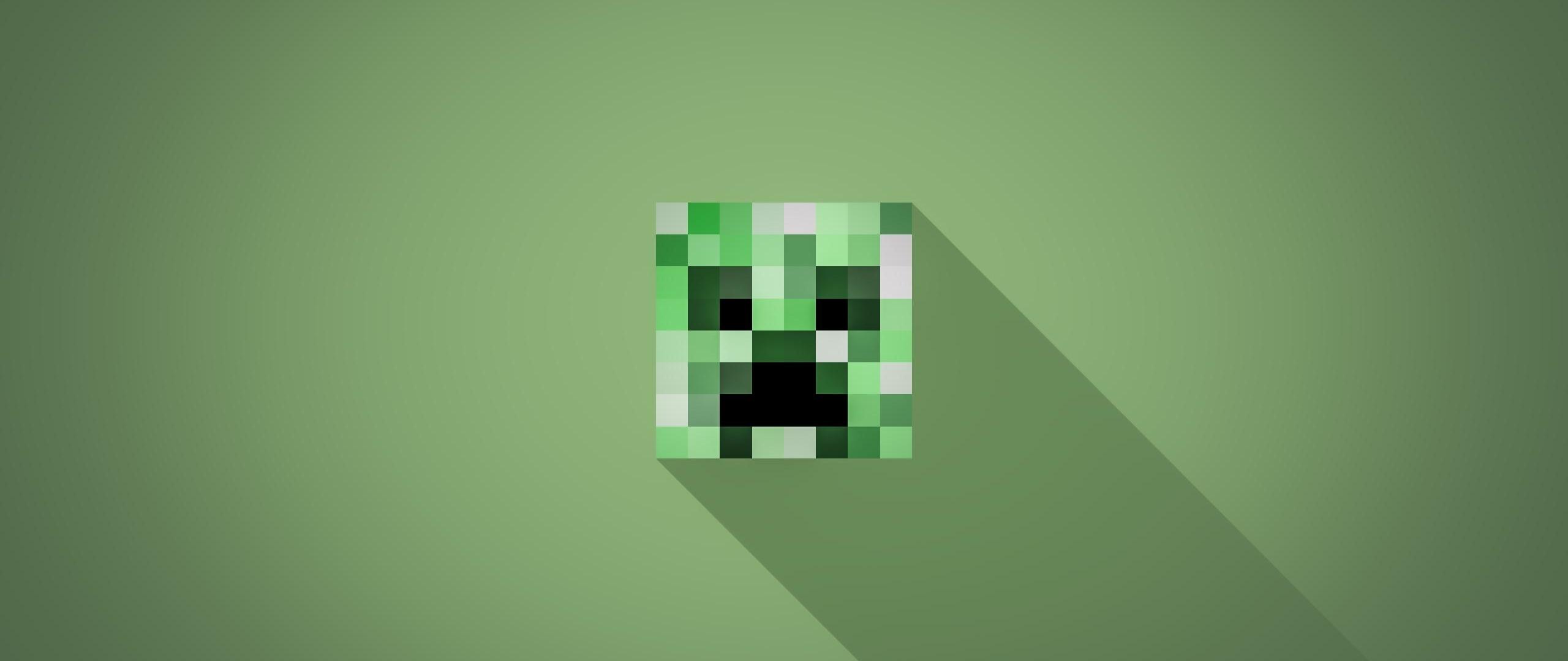 2560x1080 Minecraft Minimalist Creeper