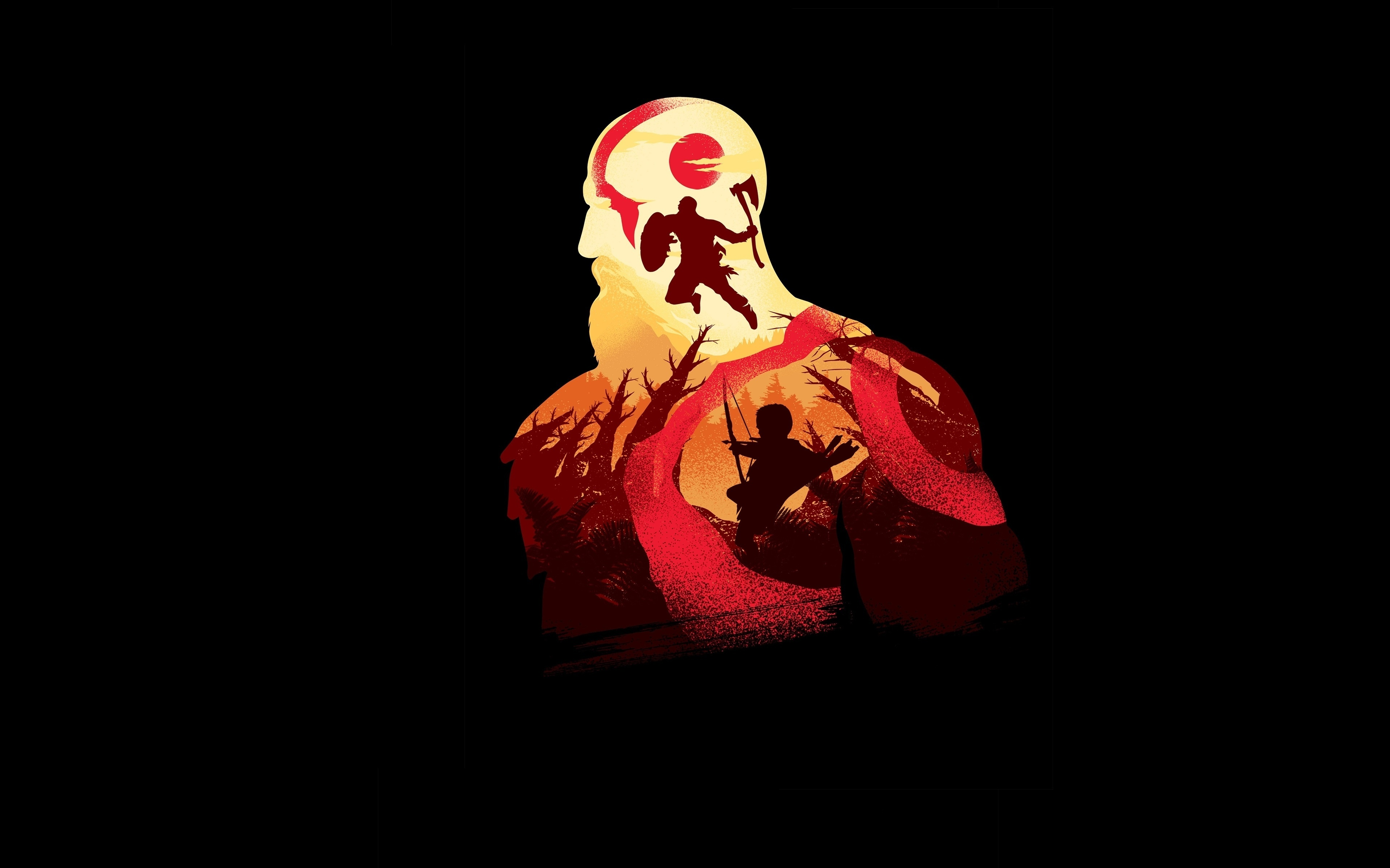 3840x2400 Minimal God Of War Game Artwork 2019 4k 3840x2400