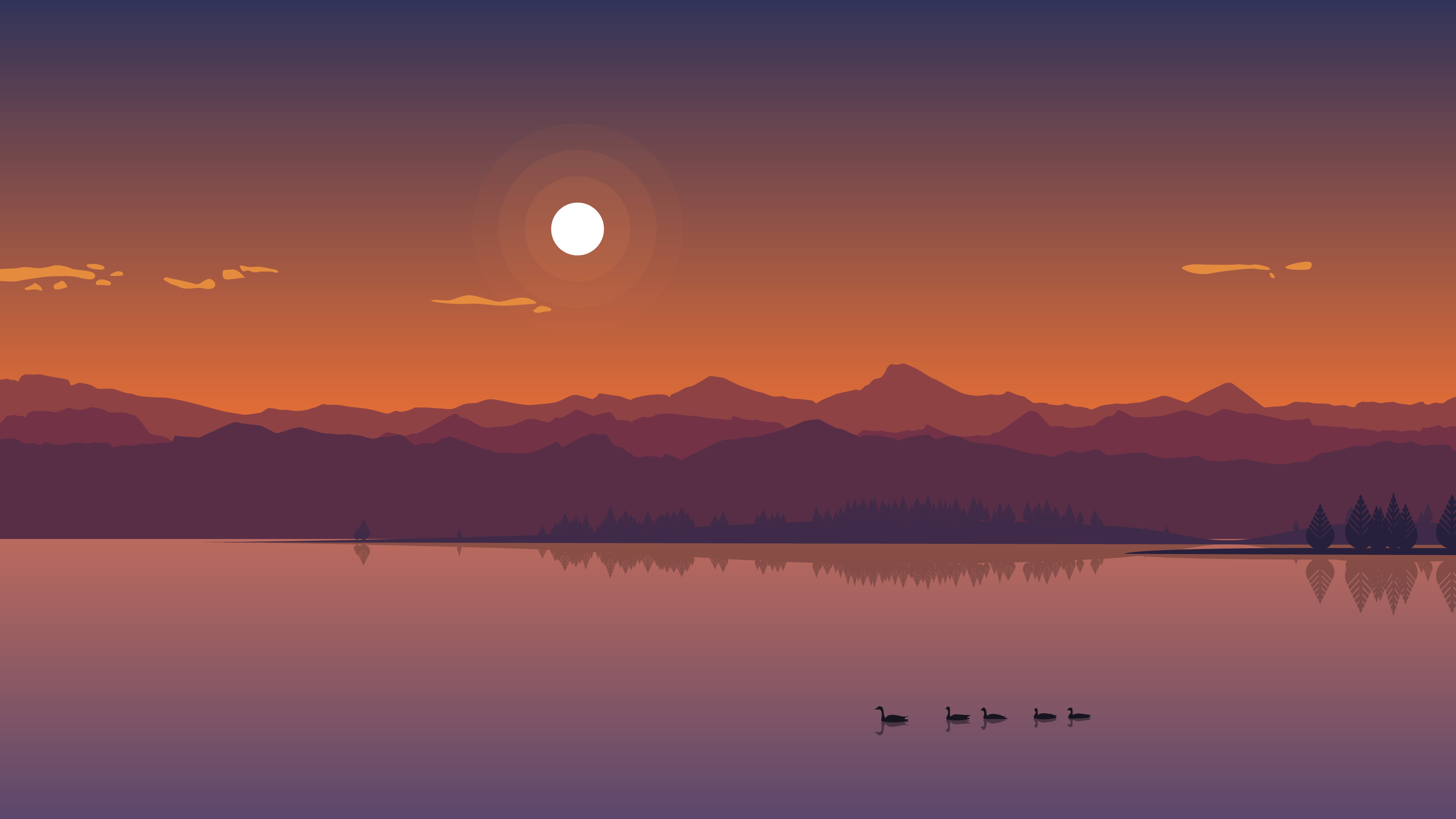 Wallpaper Pubg Minmlist: Minimal Lake Sunset, HD 4K Wallpaper