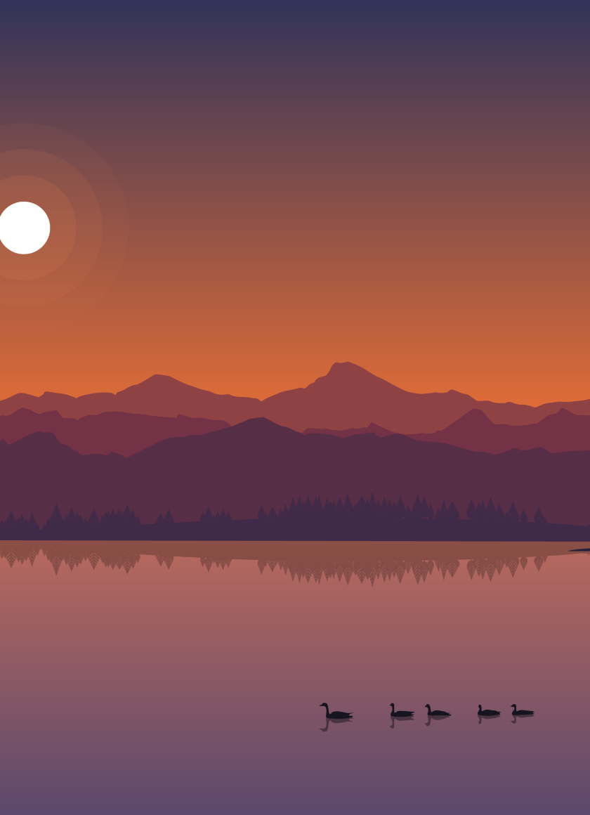 Minimal Lake Sunset, HD 4K Wallpaper