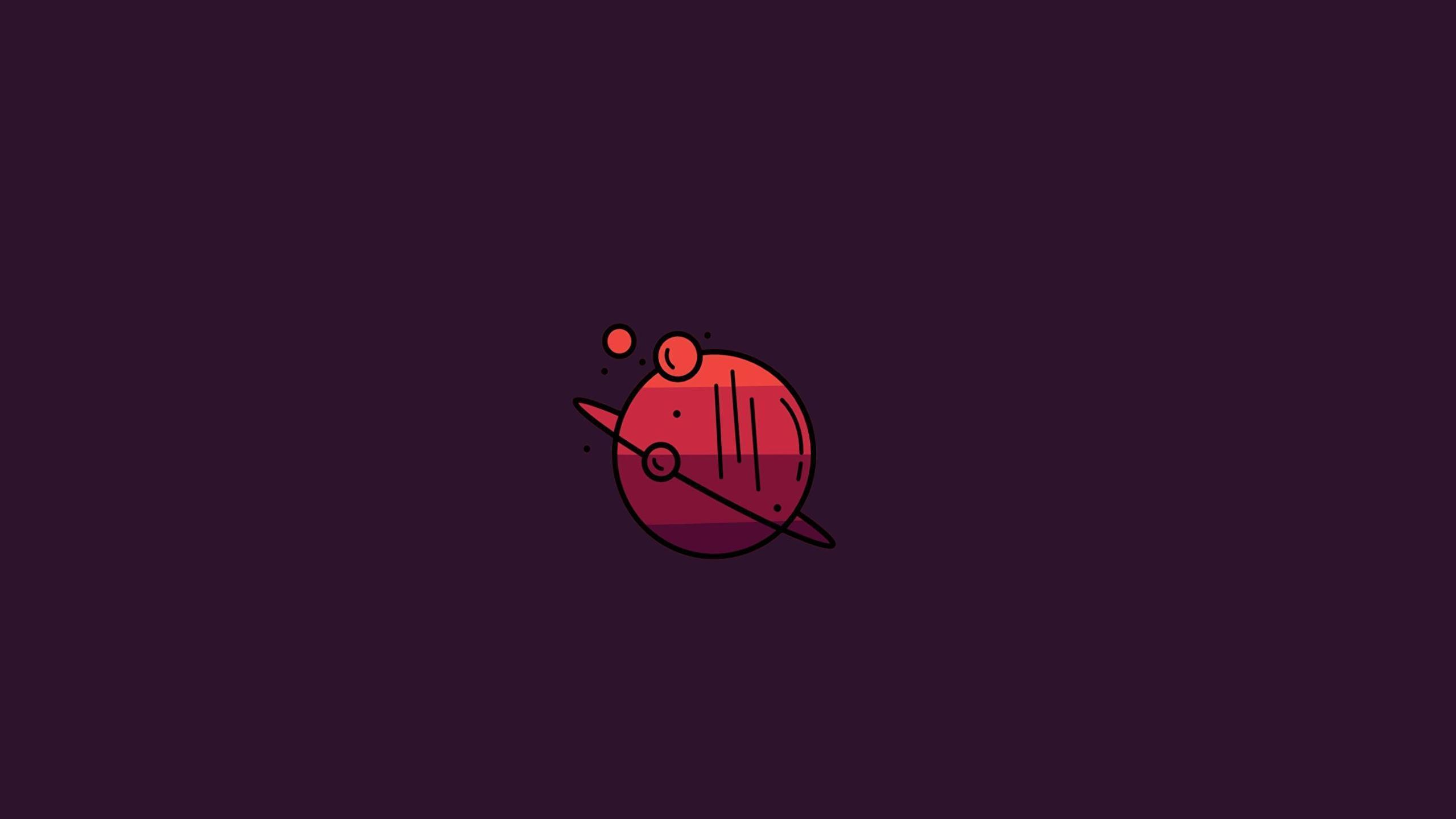 2560x1440 Minimal Planet Red Background 1440P Resolution ...