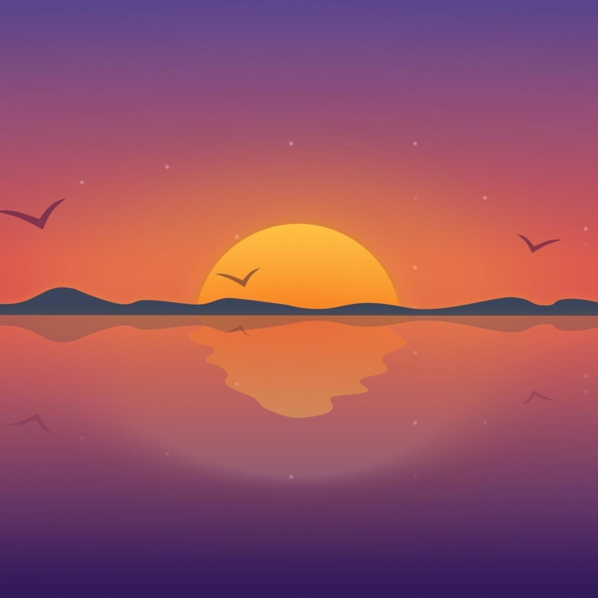 2048x2048 Minimal Reflection Sunset Ipad Air Wallpaper, HD ...