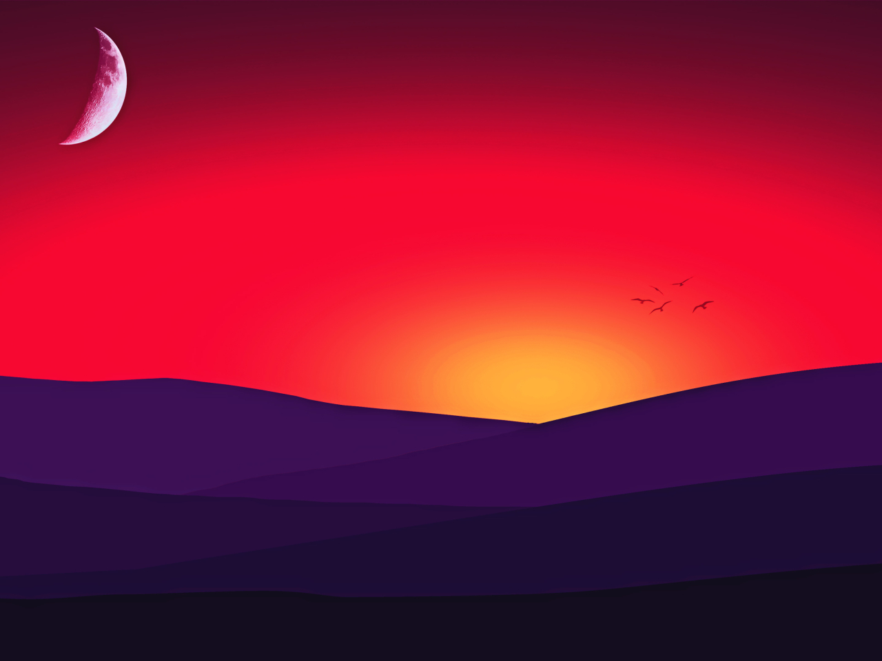 Xperia Z1 Wallpaper Purple Minimal Sunset, ...
