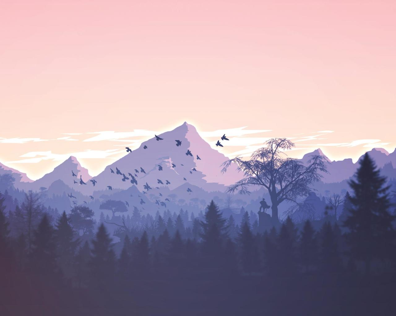 Download Minimalism Birds Mountains Trees Forest 1366x768