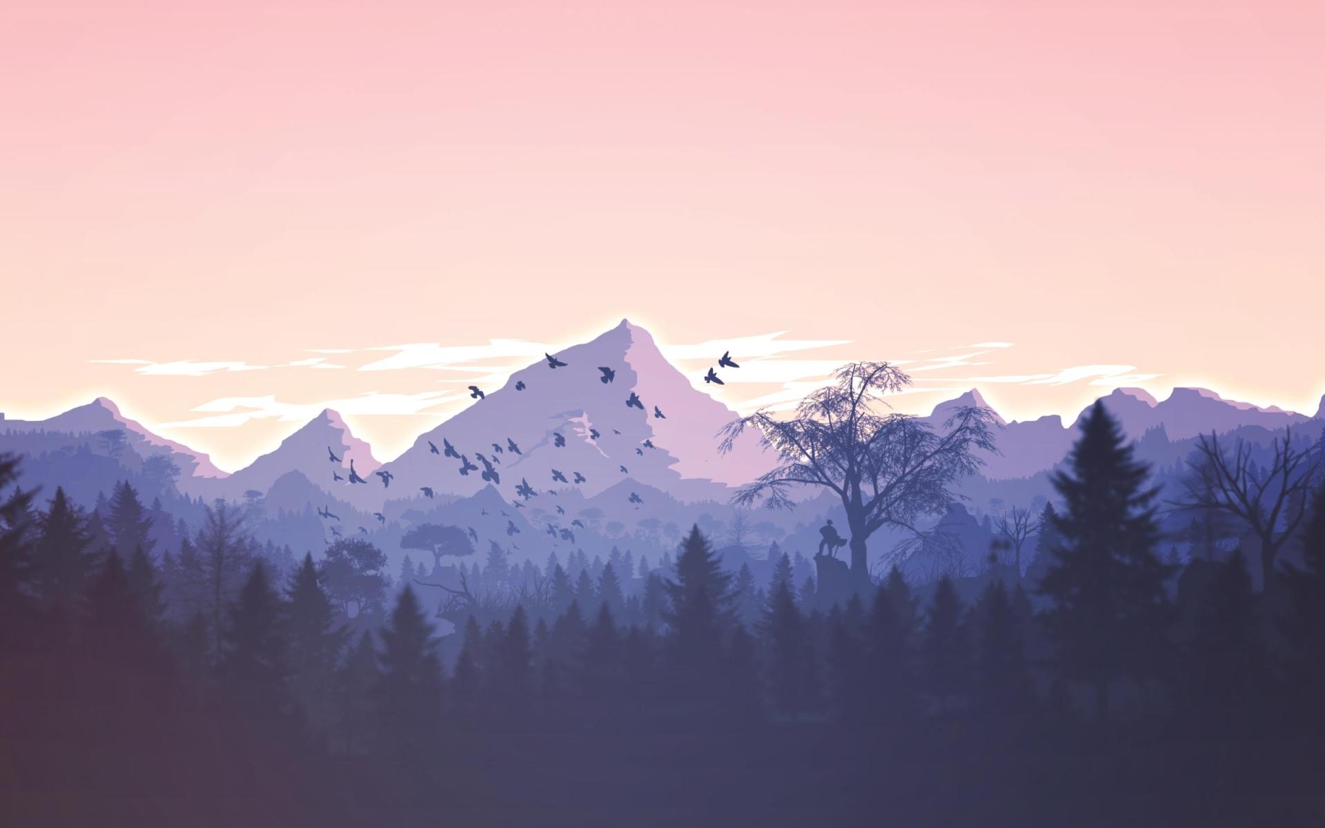 Minimalism Mountain Peak Full Hd Wallpaper: Download Minimalism Birds Mountains Trees Forest 840x1160