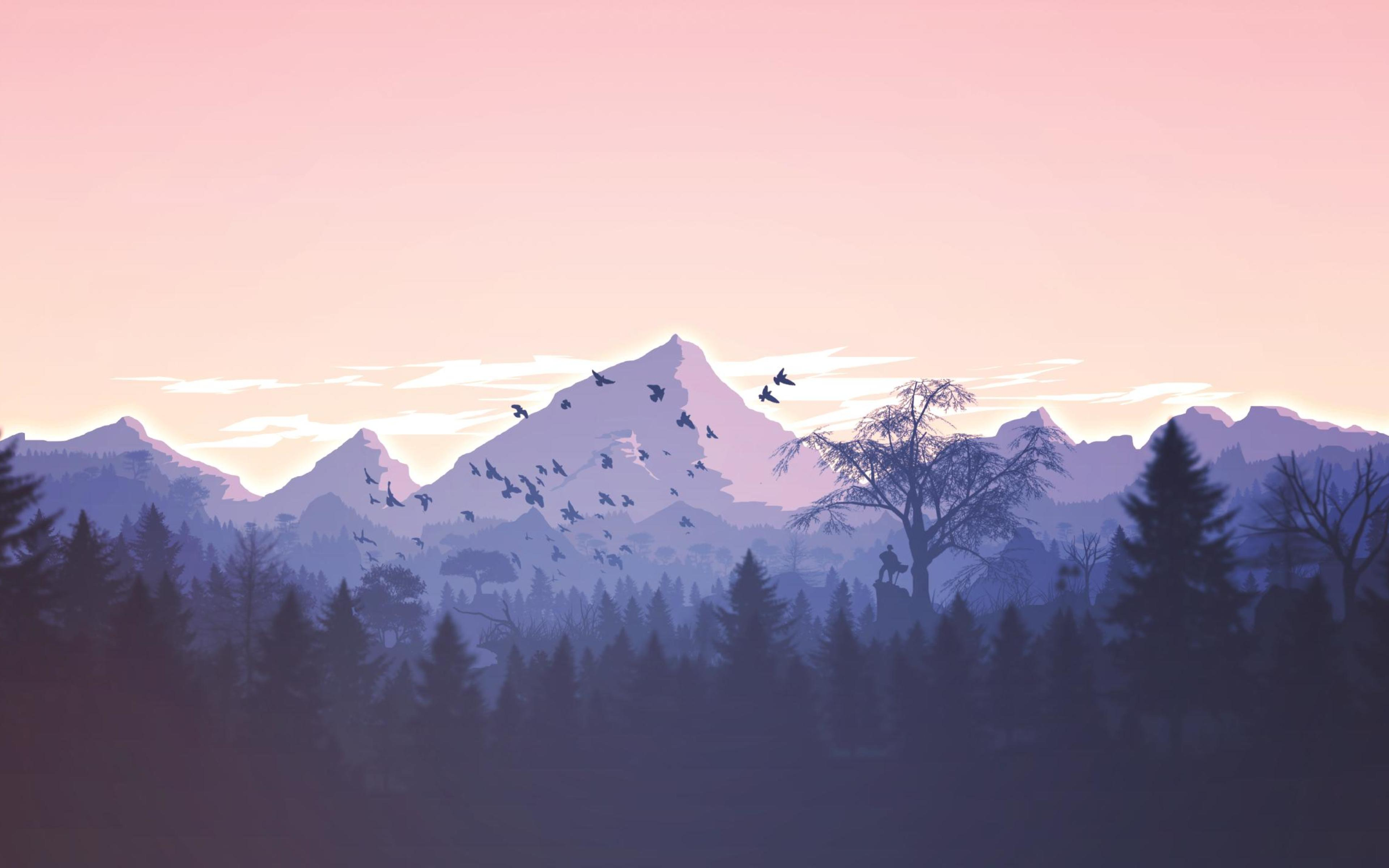 Minimalism Mountain Peak Full Hd Wallpaper: Minimalism Birds Mountains Trees Forest, Full HD 2K Wallpaper