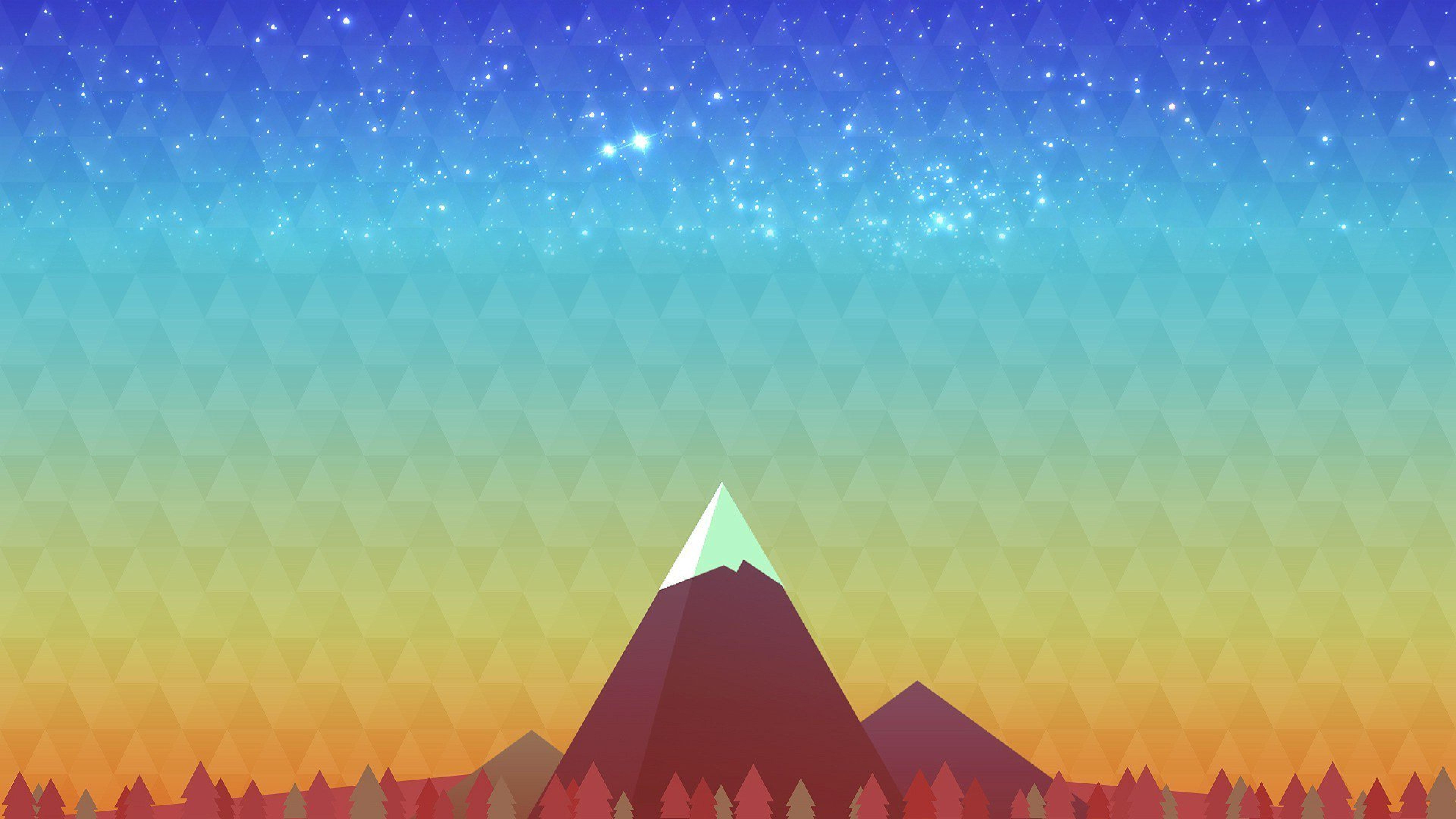 Minimalism Mountain Peak Full Hd Wallpaper