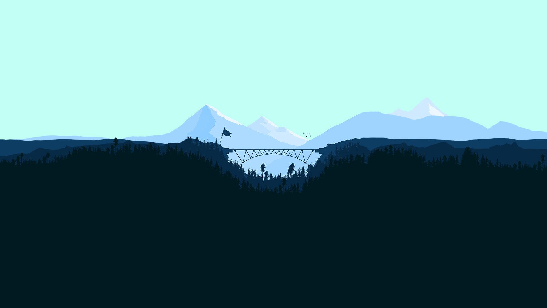 Minimalist Bridge Between Mountains Wallpaper, HD ...