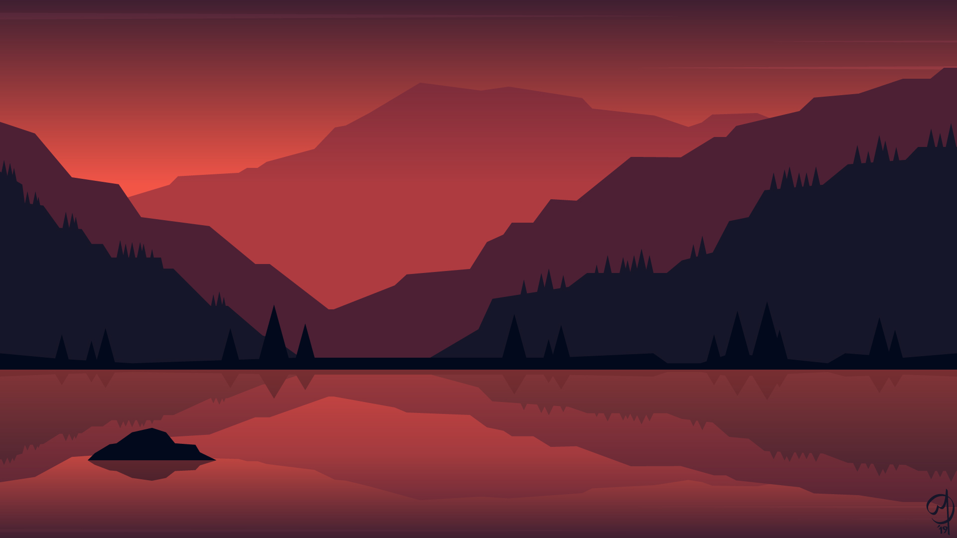 1920x1080 Minimalist Landscape Painting 1080p Laptop Full Hd
