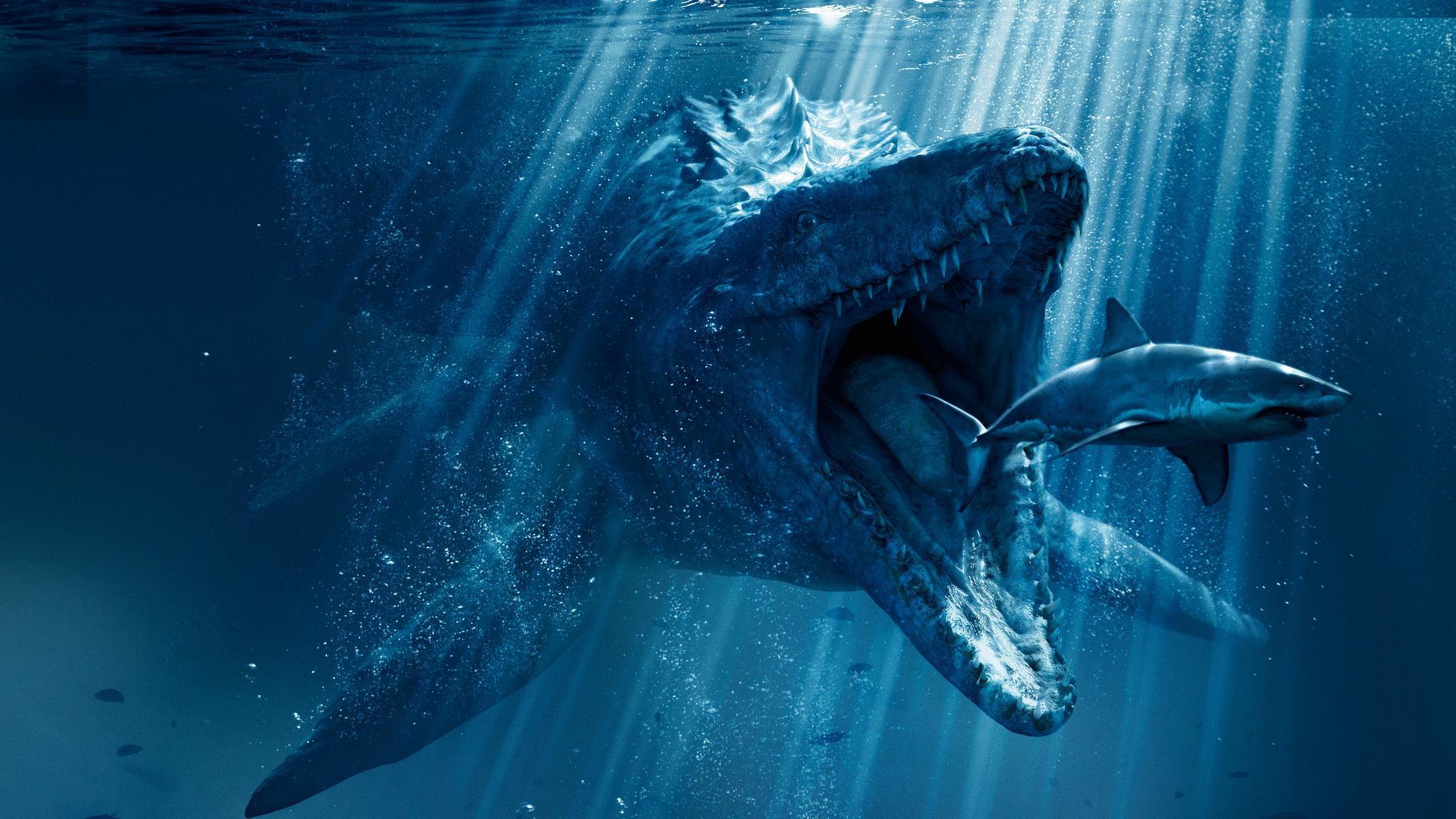 Mosasaurus Shark Snack Poster From Jurassic World 2018, Full HD 2K Wallpaper