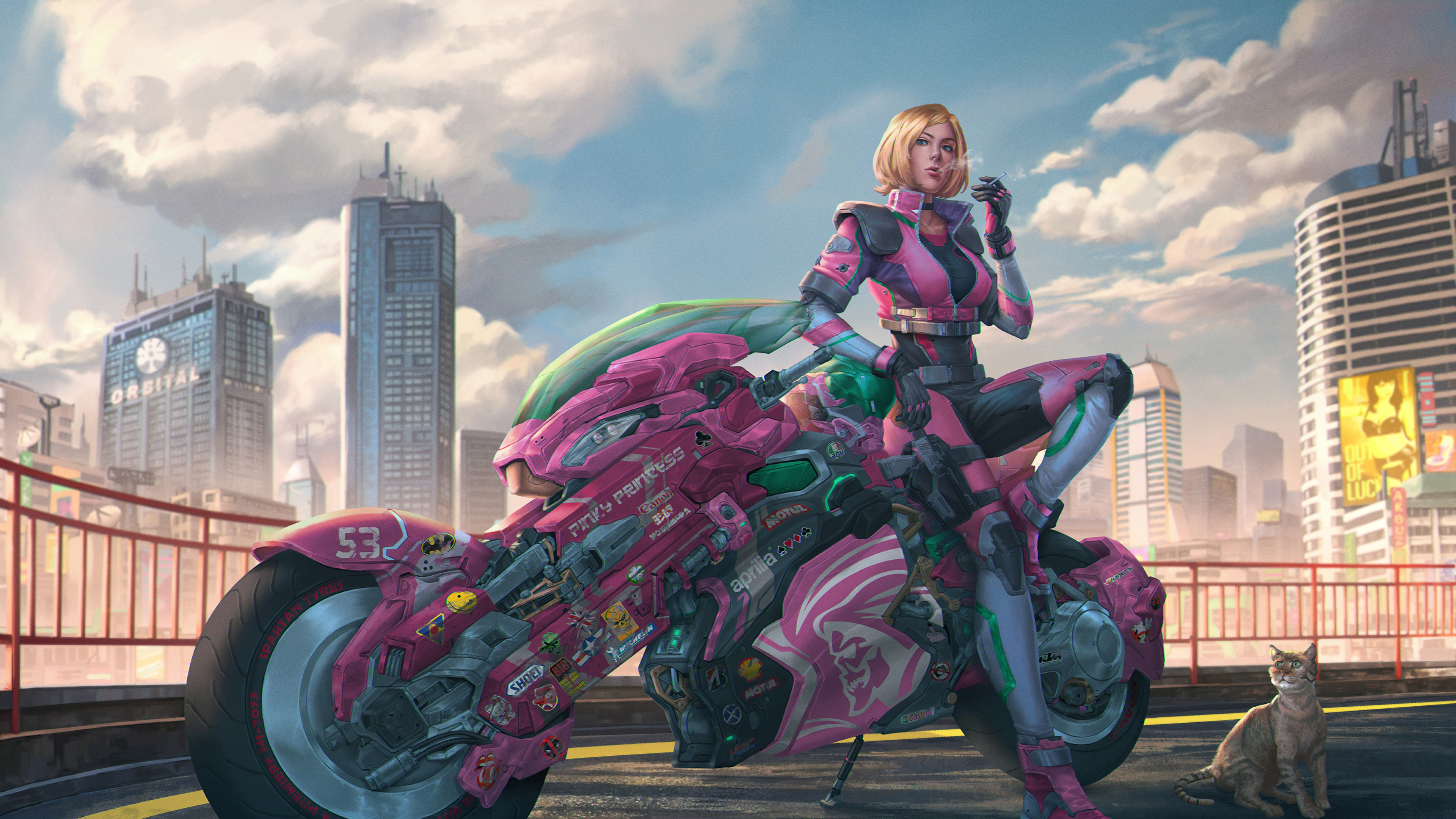 3840x2160 Motorcycle Cyberpunk Girl 4k Wallpaper Hd Artist 4k Wallpapers Images Photos And Background