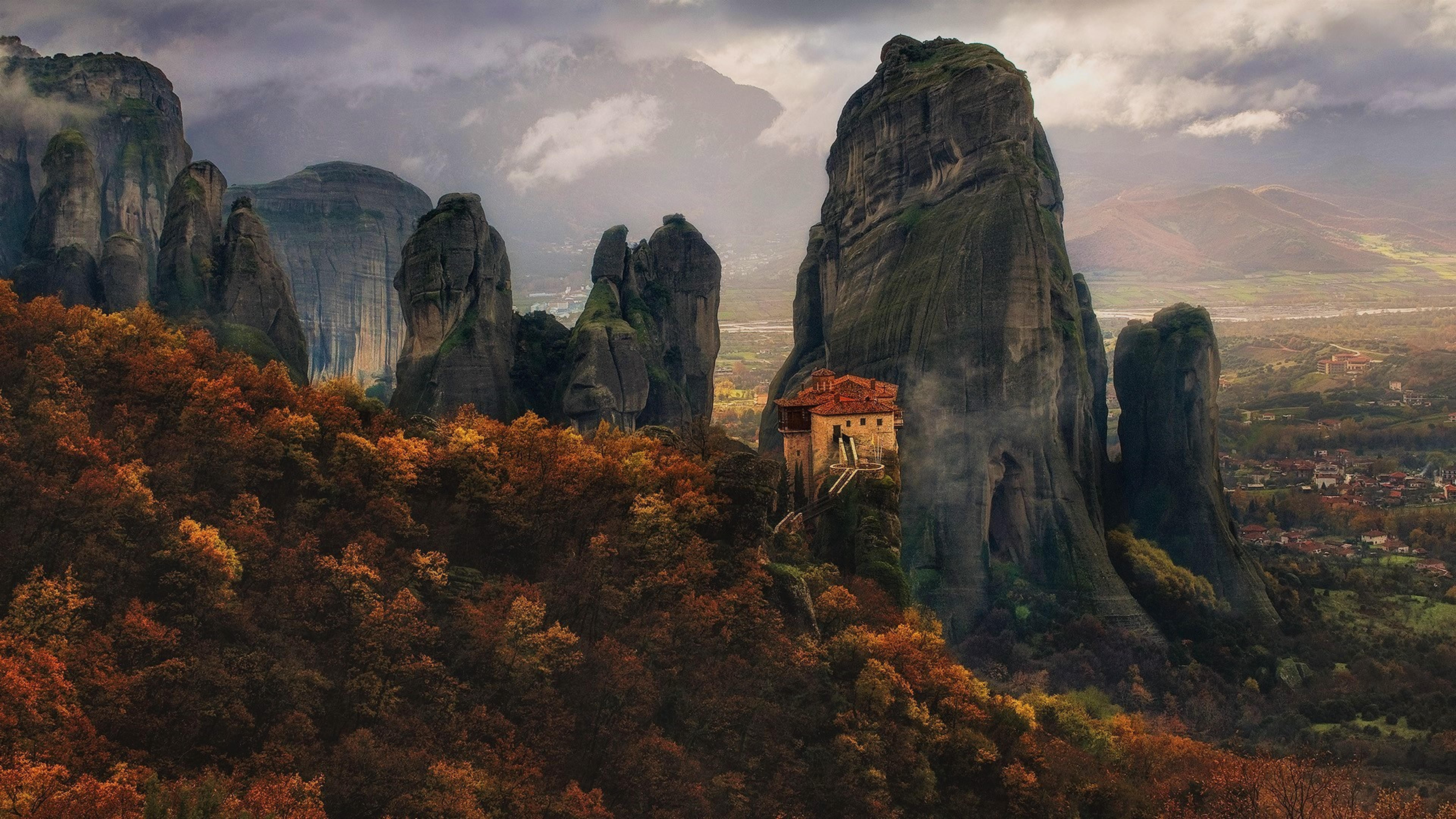 Mountain In Meteora Greece  Full Hd Wallpaper