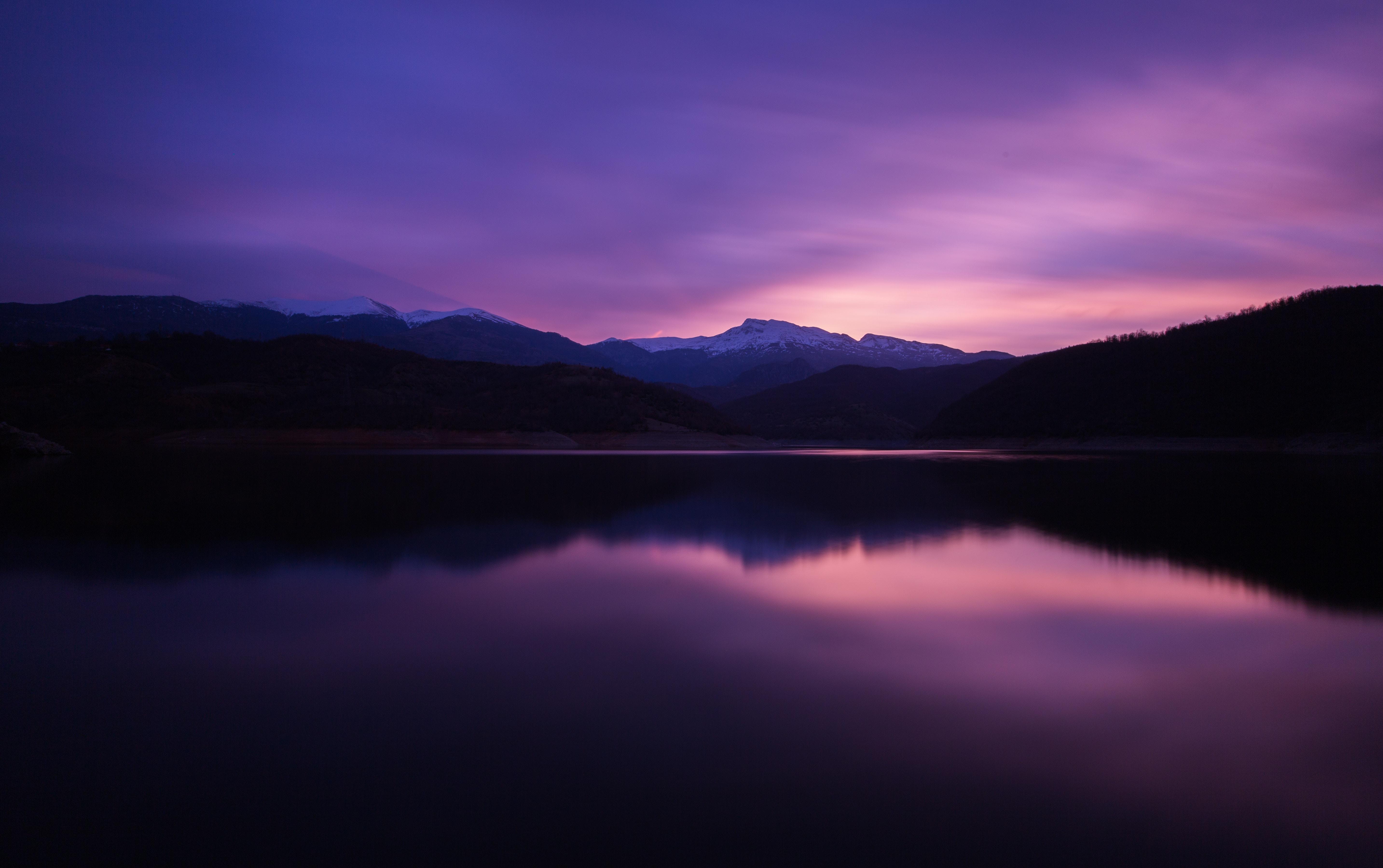 Lake Mountain Reflection Minimalism Wallpapers Hd: Mountain Lake Night Reflection Wallpaper, HD Nature 4K