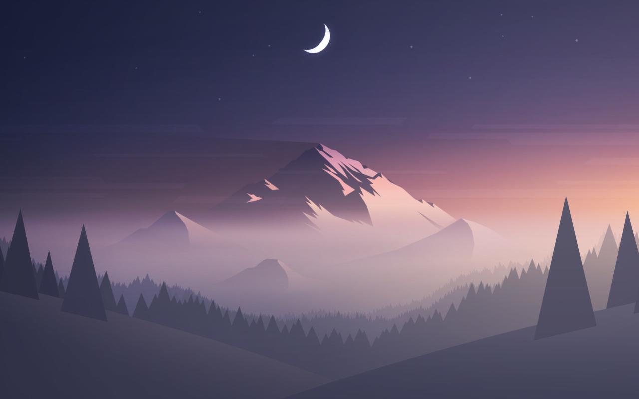 1280x800 Mountains Moon Trees Minimal 1280x800 Resolution ...