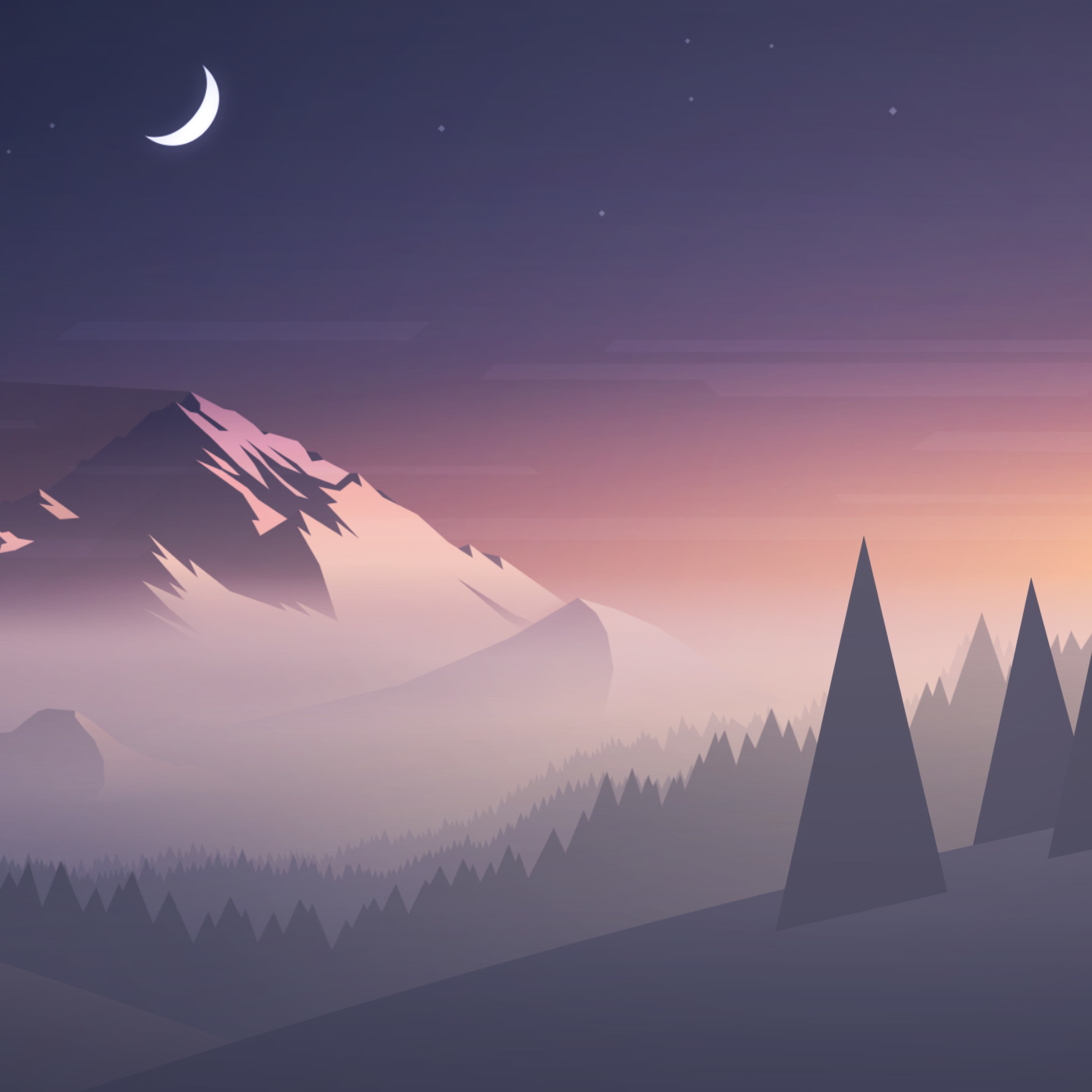 Good Wallpaper Mountain Ipad Pro - mountains-moon-trees-minimal_58540_2932x2932  Best Photo Reference_113615.jpg