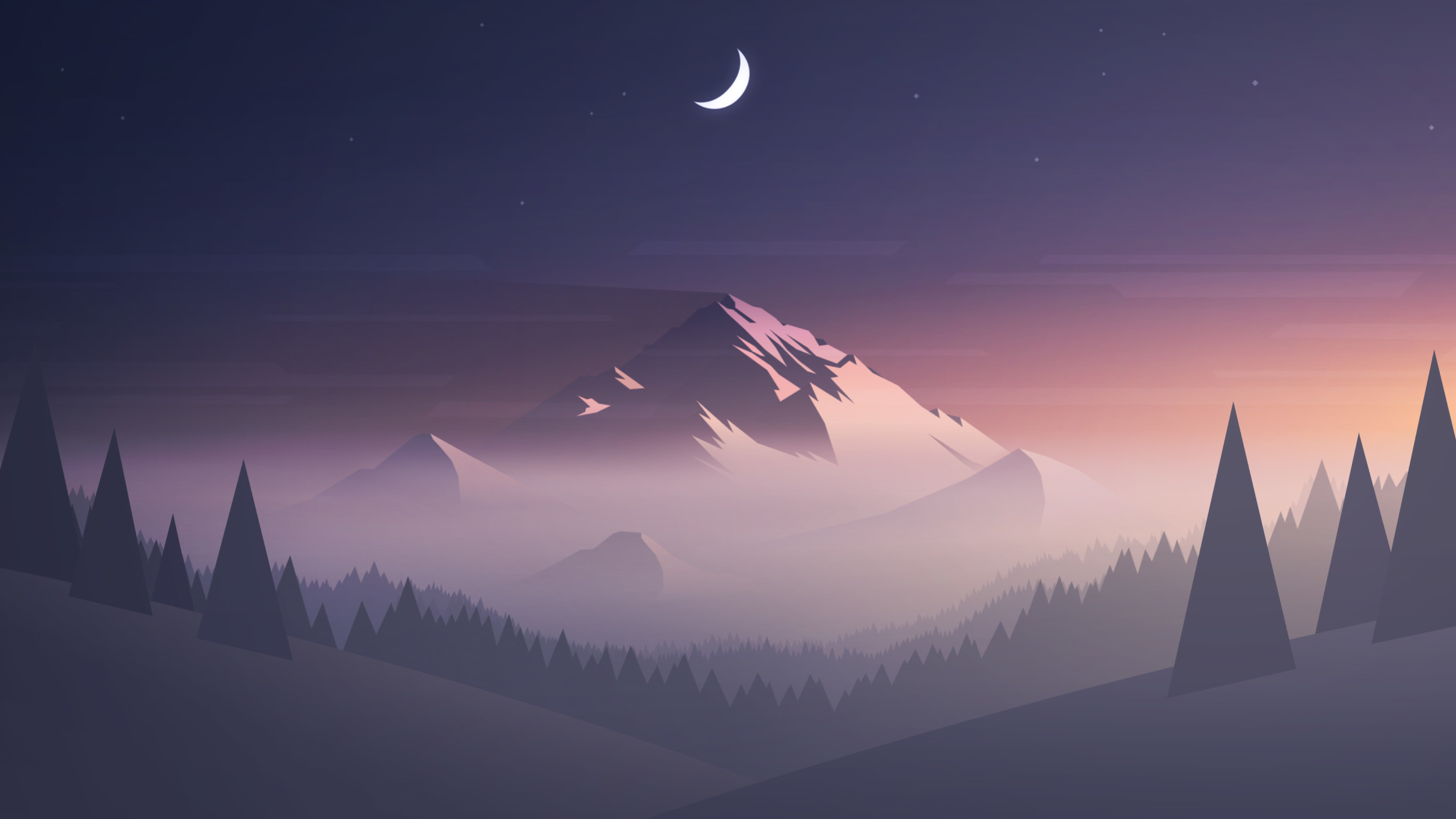 Wallpaper Mountain Minimal Half Moon Hd Creative: Download Mountains Moon Trees Minimal 480x854 Resolution