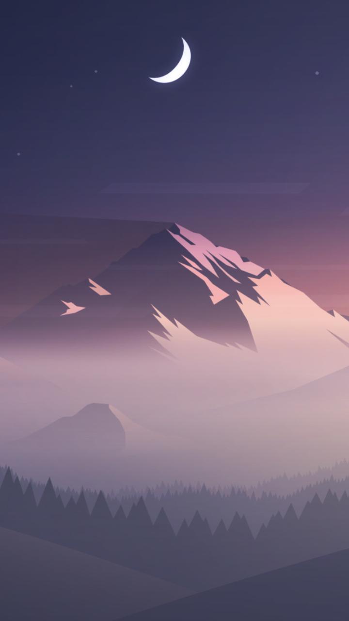Mountains moon trees minimal full hd 2k wallpaper for Immagini minimal