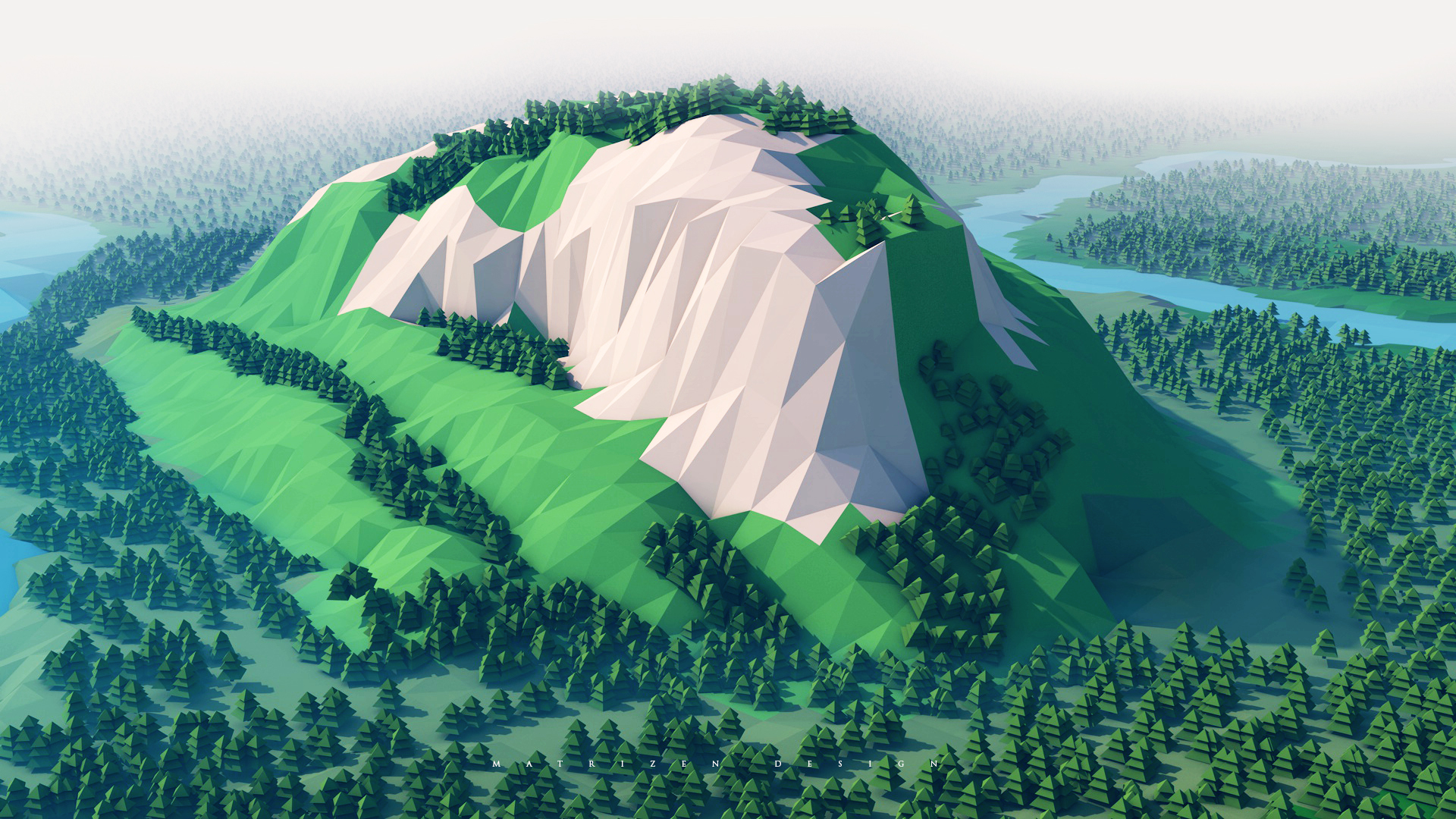 Mountains Minimalism Hd 4k Wallpaper: Mountains Trees Forest 3d Minimalism, Full HD Wallpaper